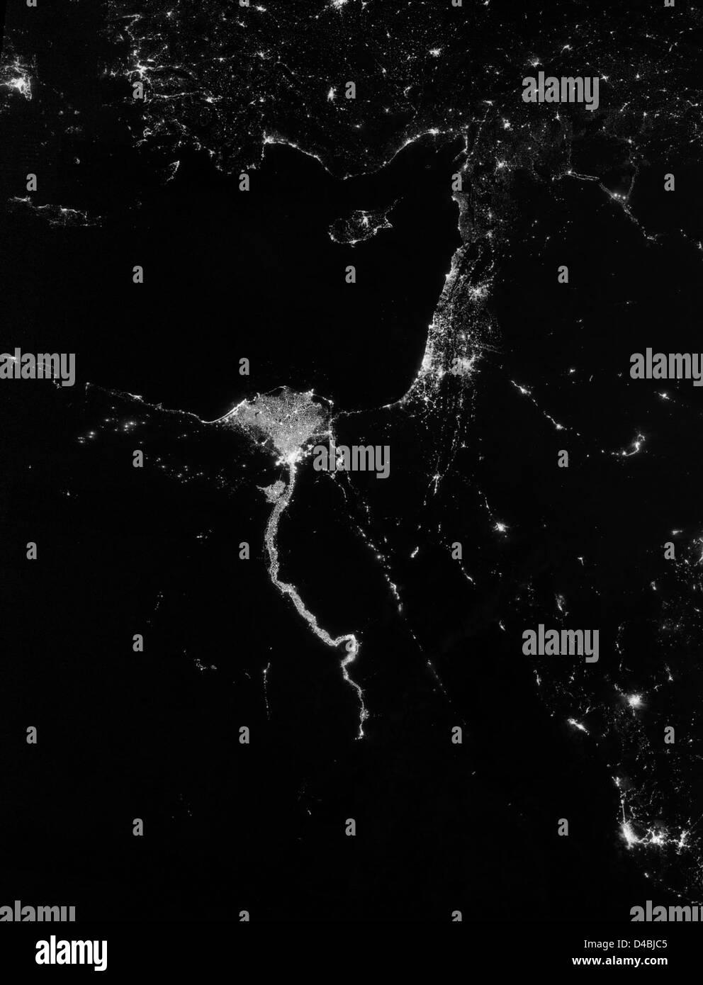 City Lights Illuminate the Nile - Stock Image