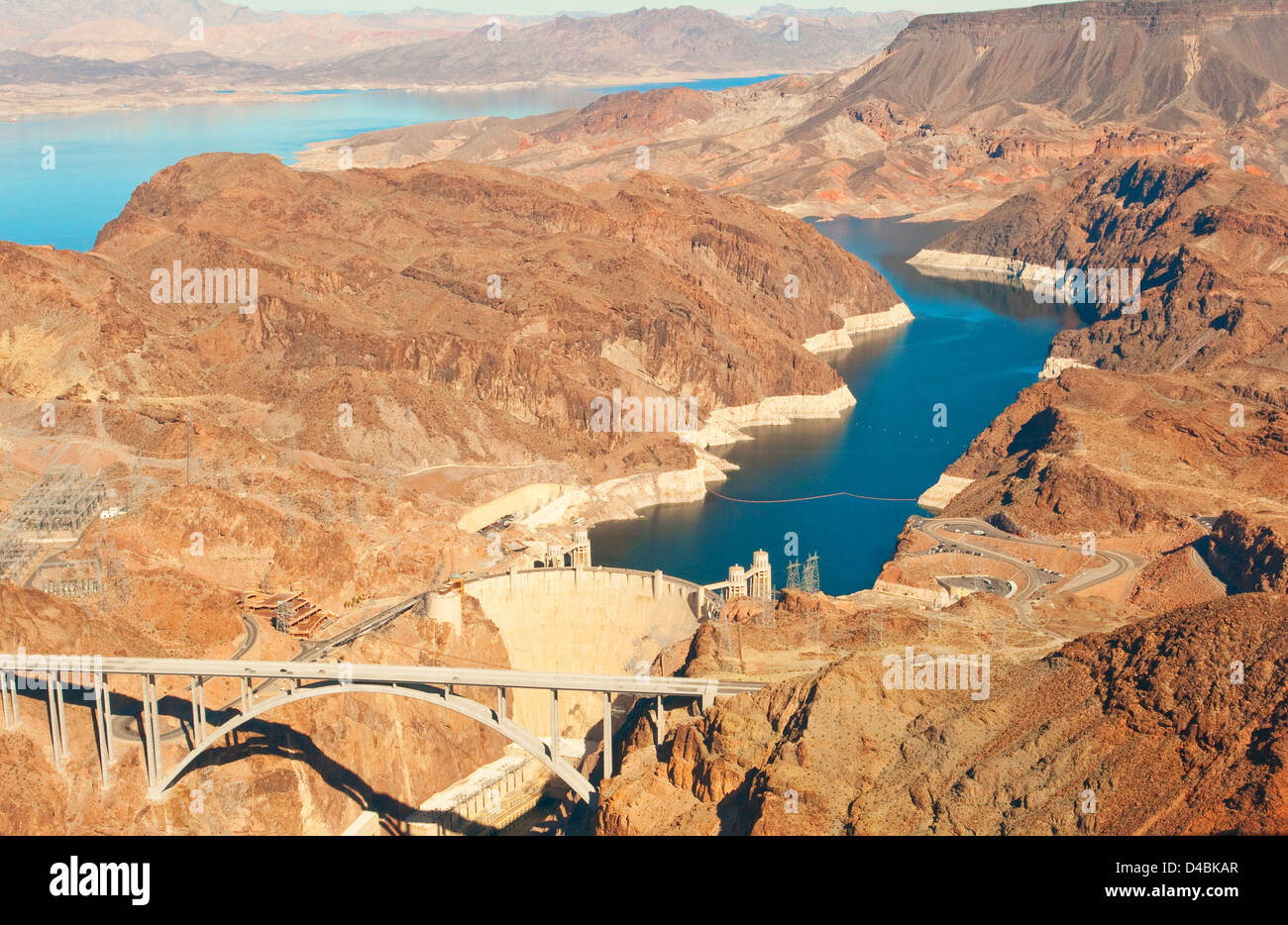 Aerial View of Lake Mead Boulder Dam, USA Stock Photo