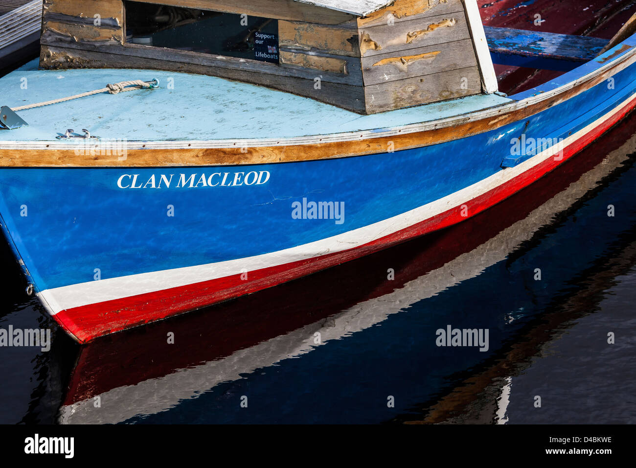 Fishing boat 'CLAN MACLEOD' at Nairn harbour in Scotland. - Stock Image
