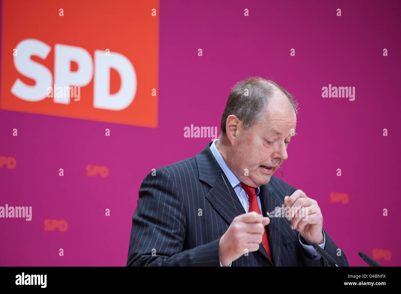 Berlin, Germany. 11th March, 2013. Peer Steinbrueck, Chancellor candidate of SPD, and SPD Chairman, Sigmar Gabriel, - Stock Image