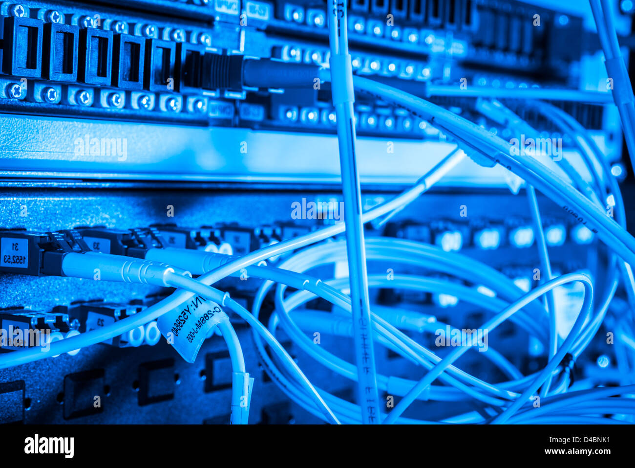 server with fiber optic cables in data center Stock Photo: 54348197 ...