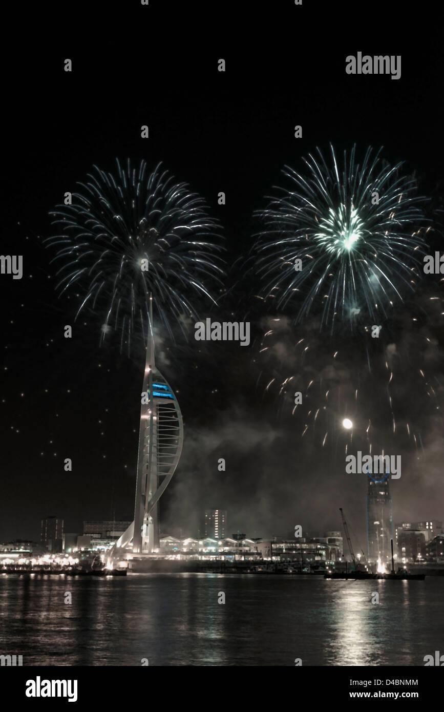 The Spinnaker Tower Firework Display, Portsmouth, UK Stock Photo