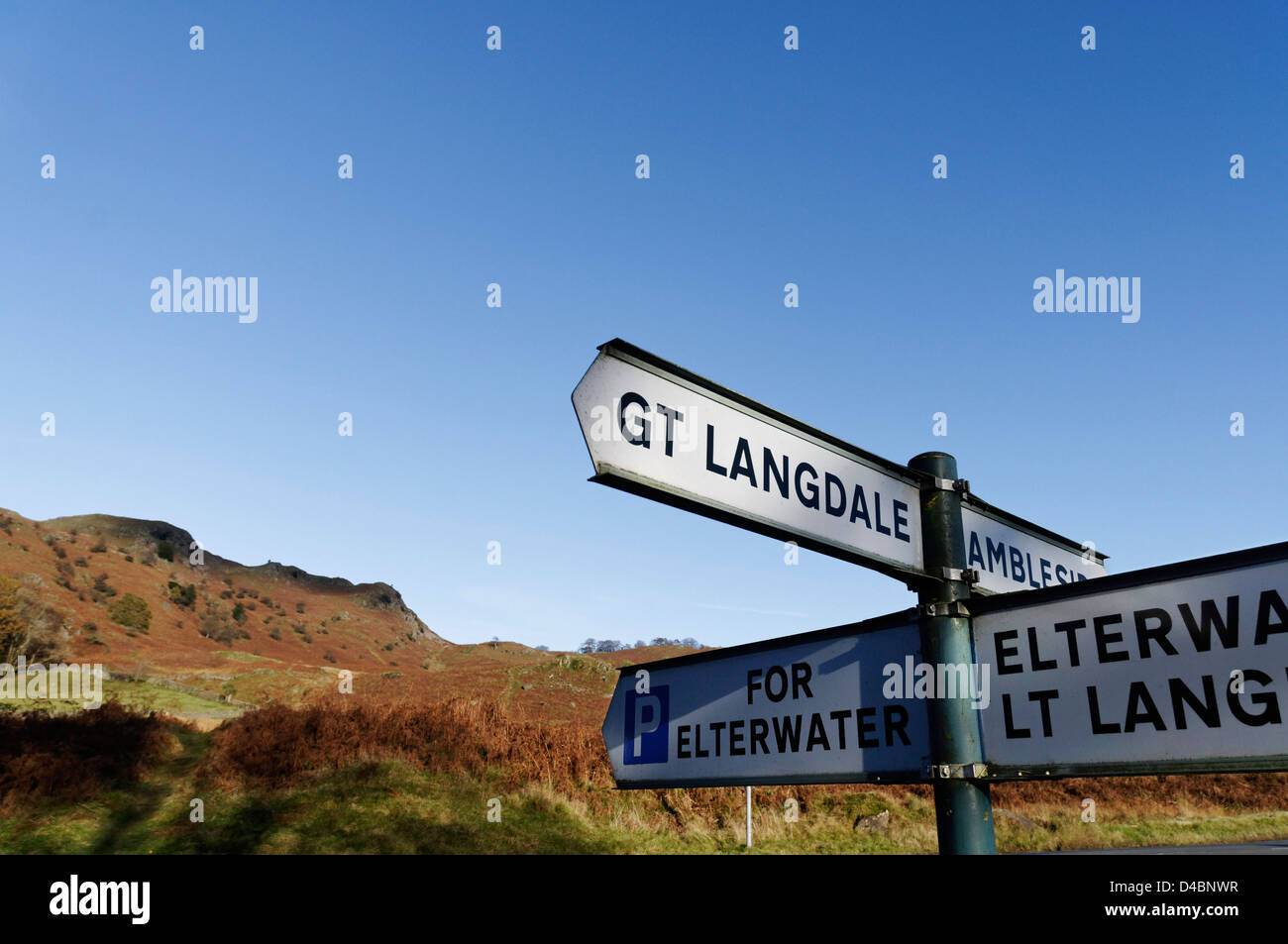 Road signs for Ambleside and Great Langdale in the Lake District - Stock Image