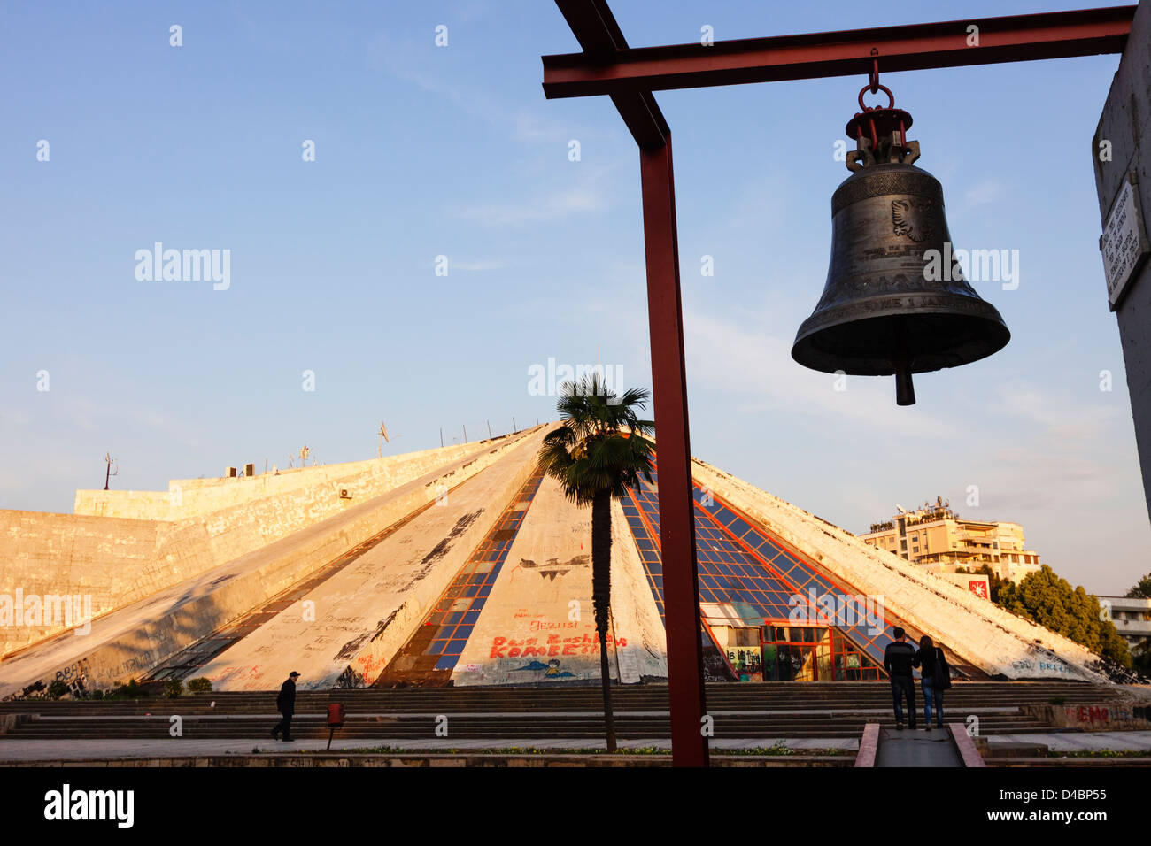 Pyramid and Bell of Peace. Tirana, Albania - Stock Image