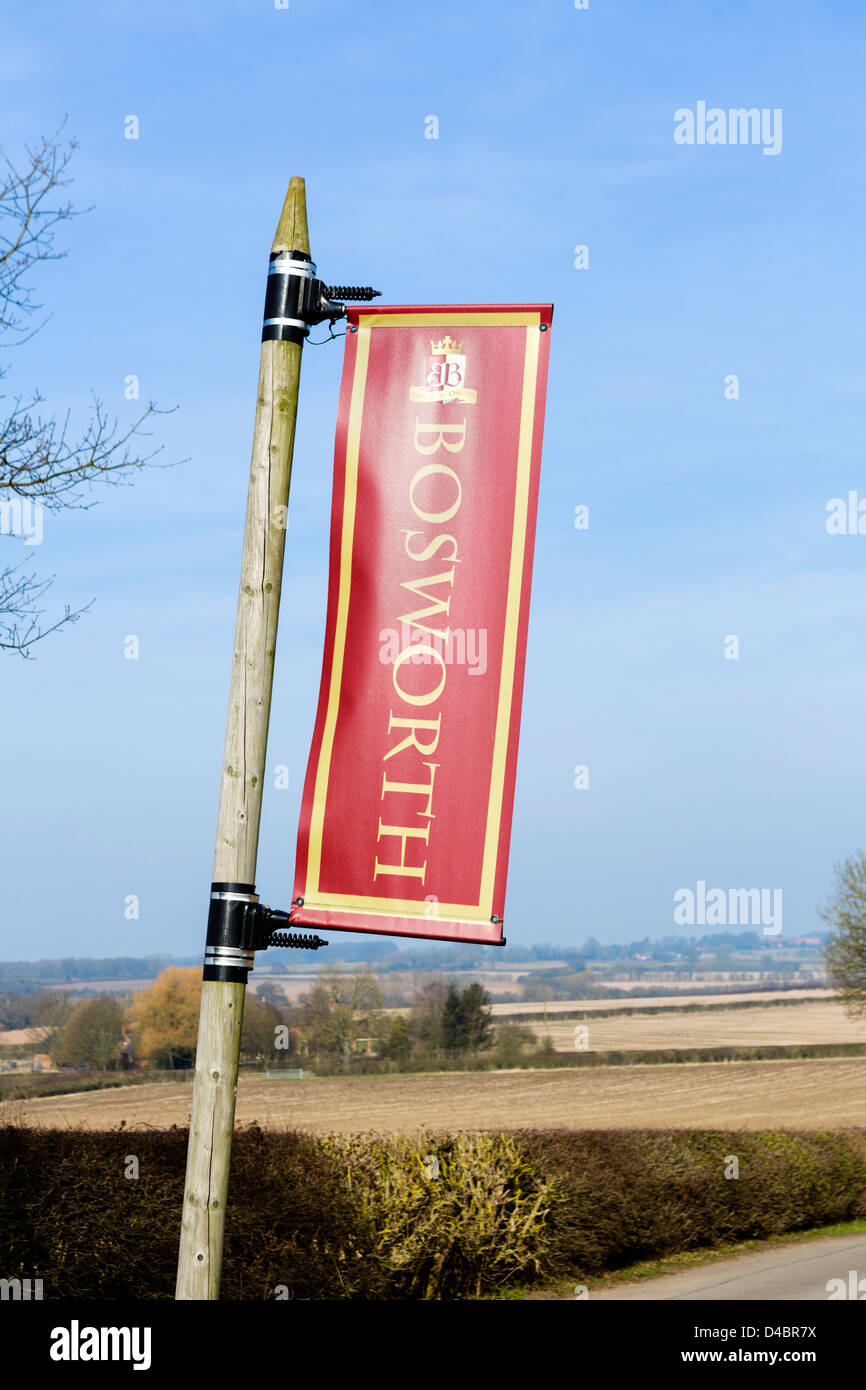 Banner on the road leading to the Bosworth Battlefield Heritage Centre, Bosworth Field, Leicestershire, East Midlands, - Stock Image