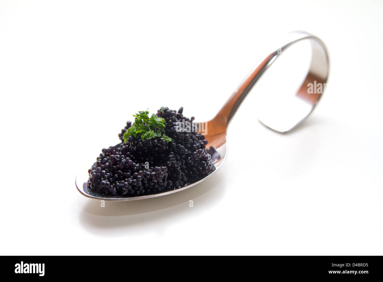 Caviar on a spoon - Stock Image