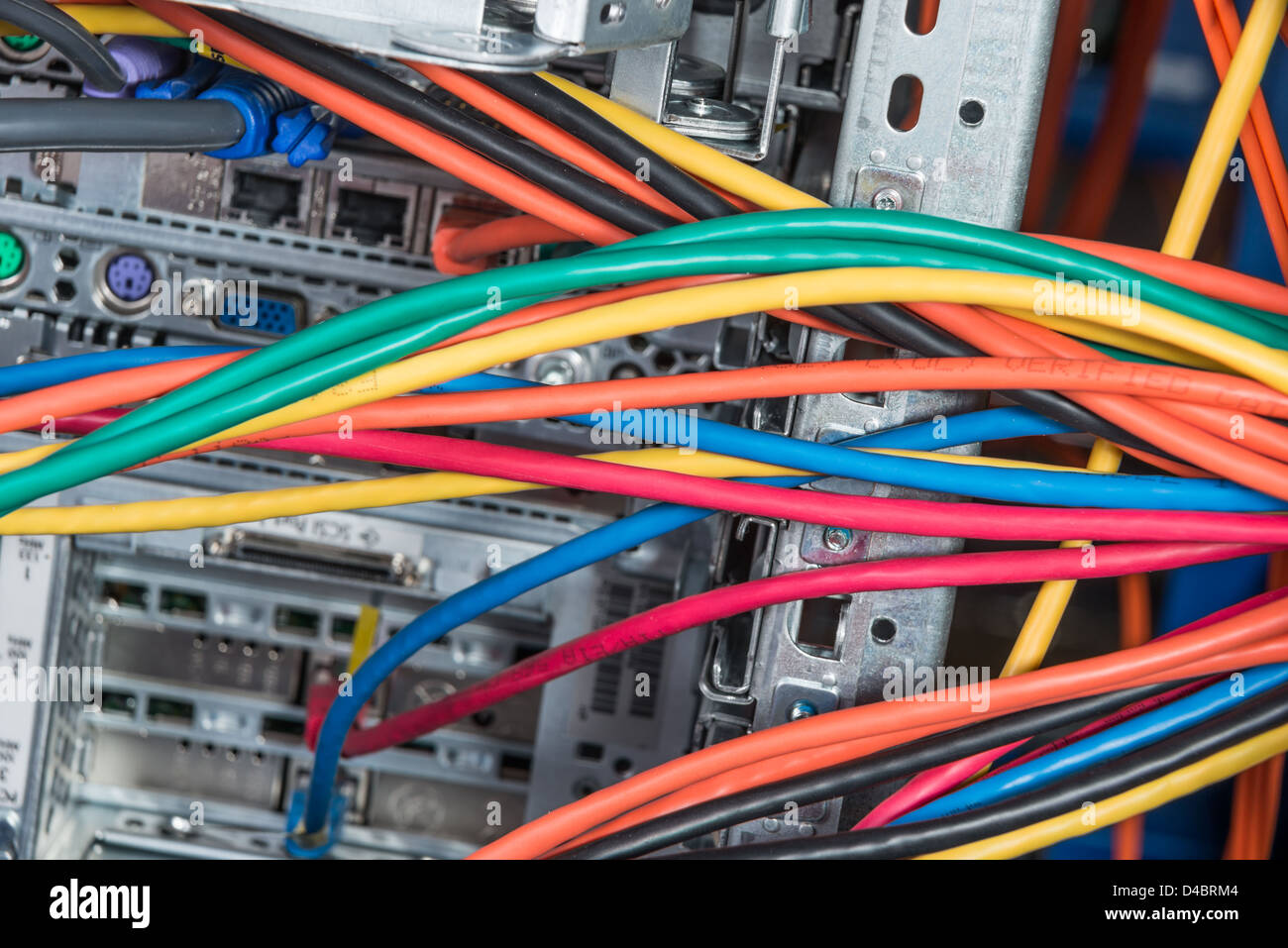 Patch Panel Ethernet Stock Photos Wall Mount Jack Wiring Diagram Also Neat Cable Close Up Of Network Hub And Cables Image