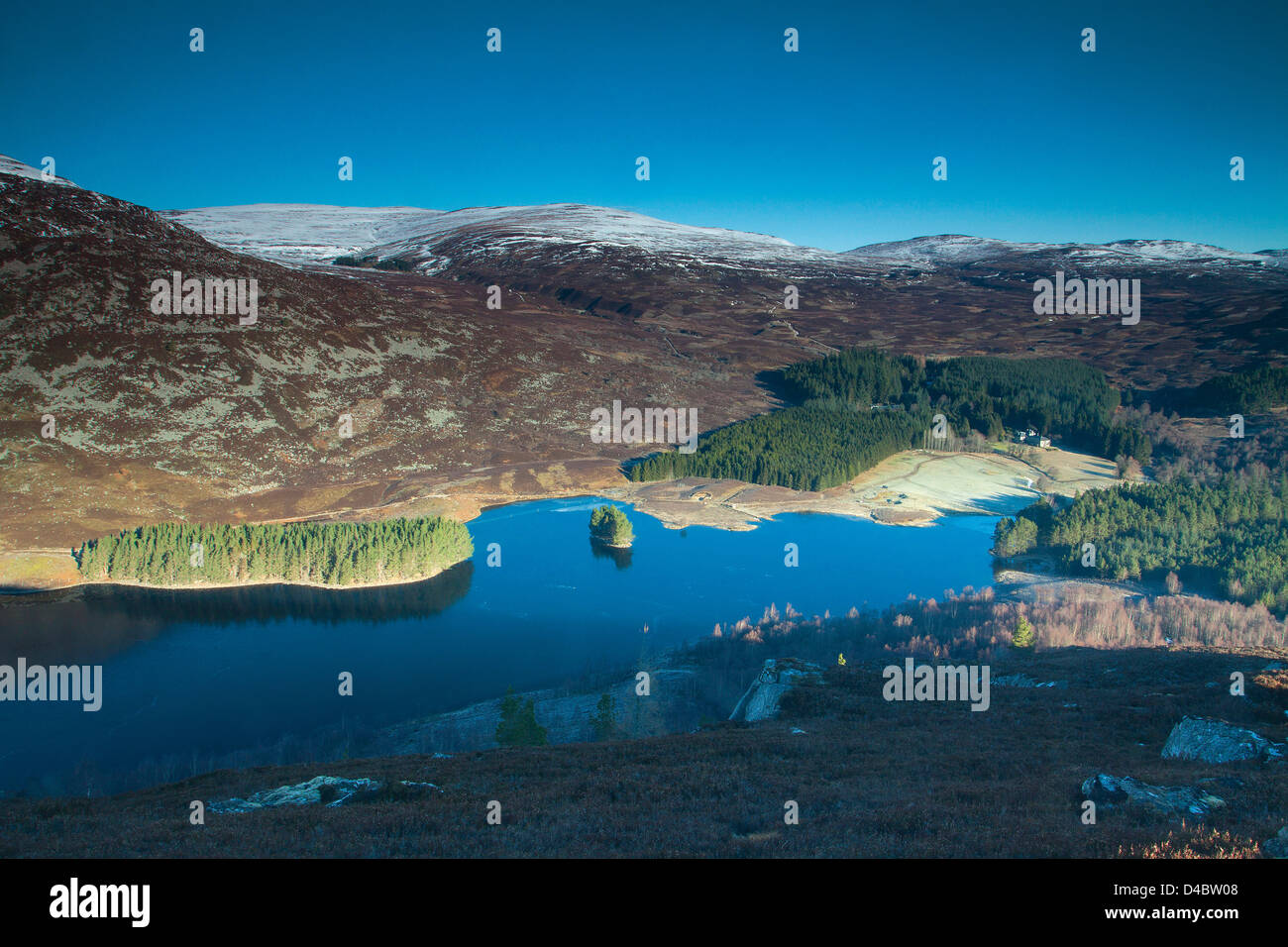 Loch Gynack from Creag Bheag above Kingussie, Cairngorm National Park, Highland - Stock Image