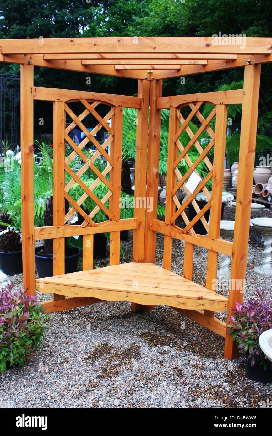Wooden garden bench Stock Photo