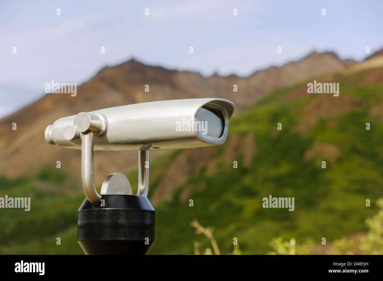 Viewing scope, Toklat River Rest Area, Denali National Park & Preserve, Alaska, USA - Stock Image