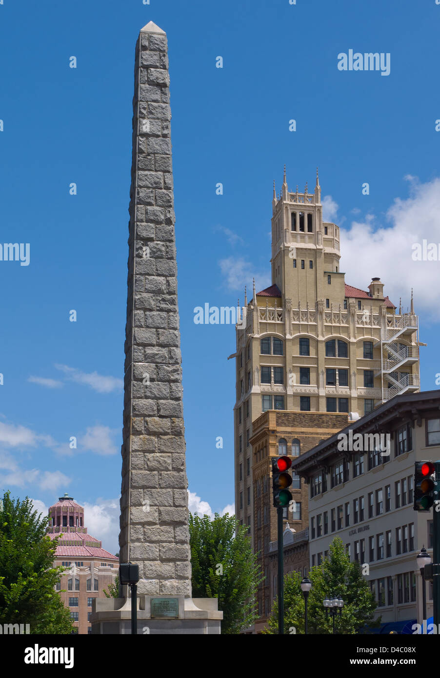 View of historic buildings in downtown Asheville, North Carolina. - Stock Image