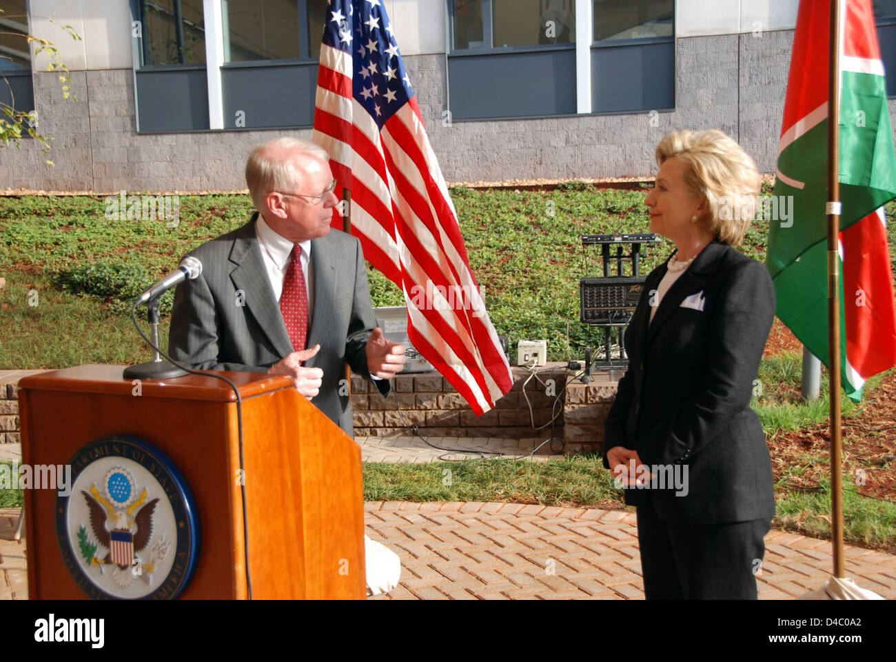 Secretary Clinton Addresses U S  Embassy Staff in Kenya Stock Photo