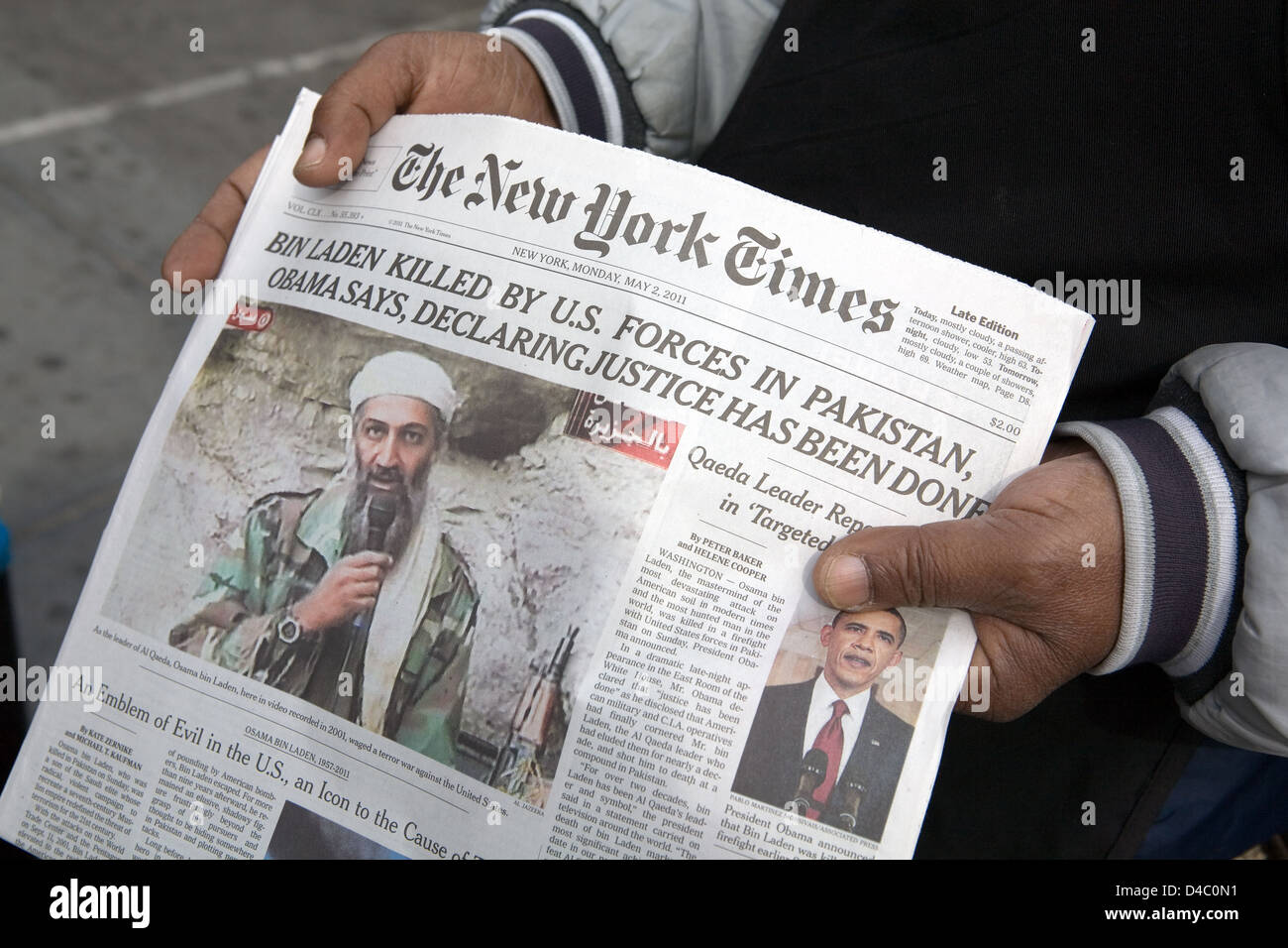 New York City, United States, headline the death of Osama Bin Laden - Stock Image