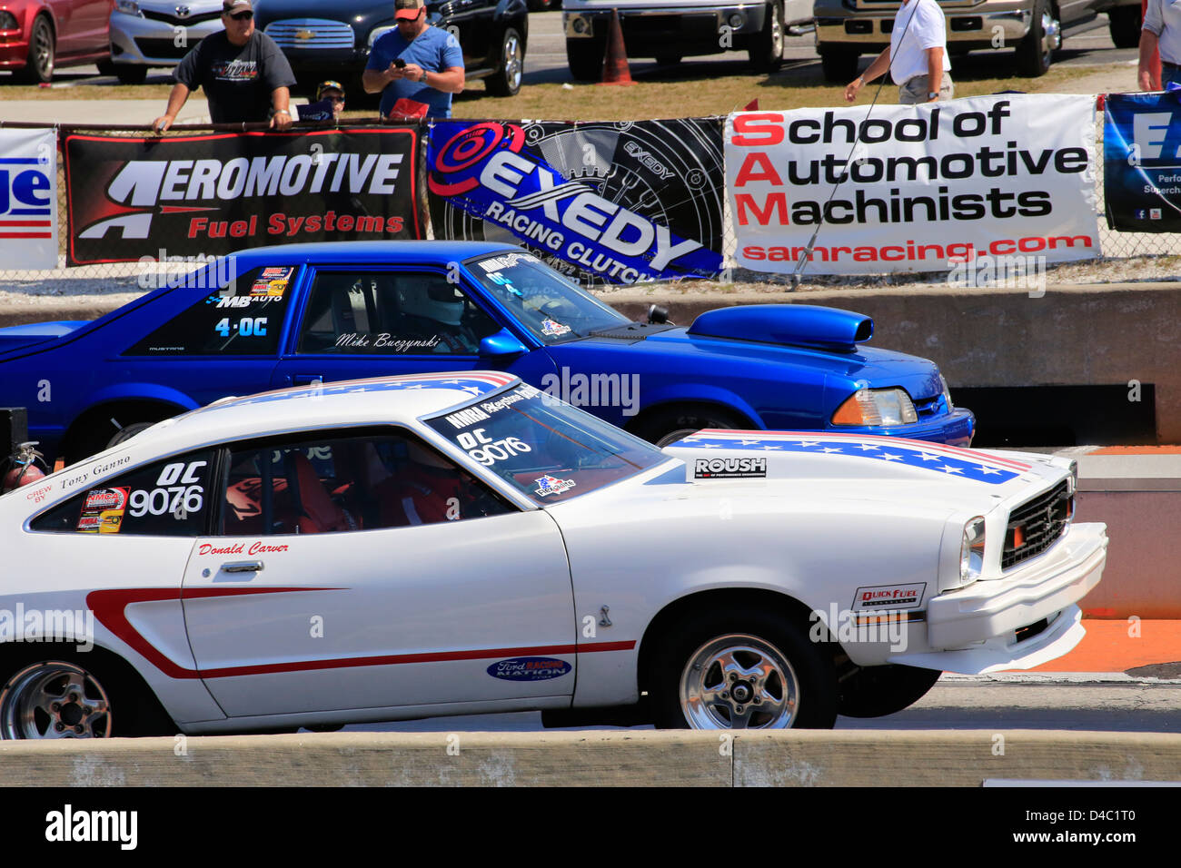 Bradenton Drag Strip >> Two Drag Race Cars Racing On A Drag Strip At The Bradenton Raceway