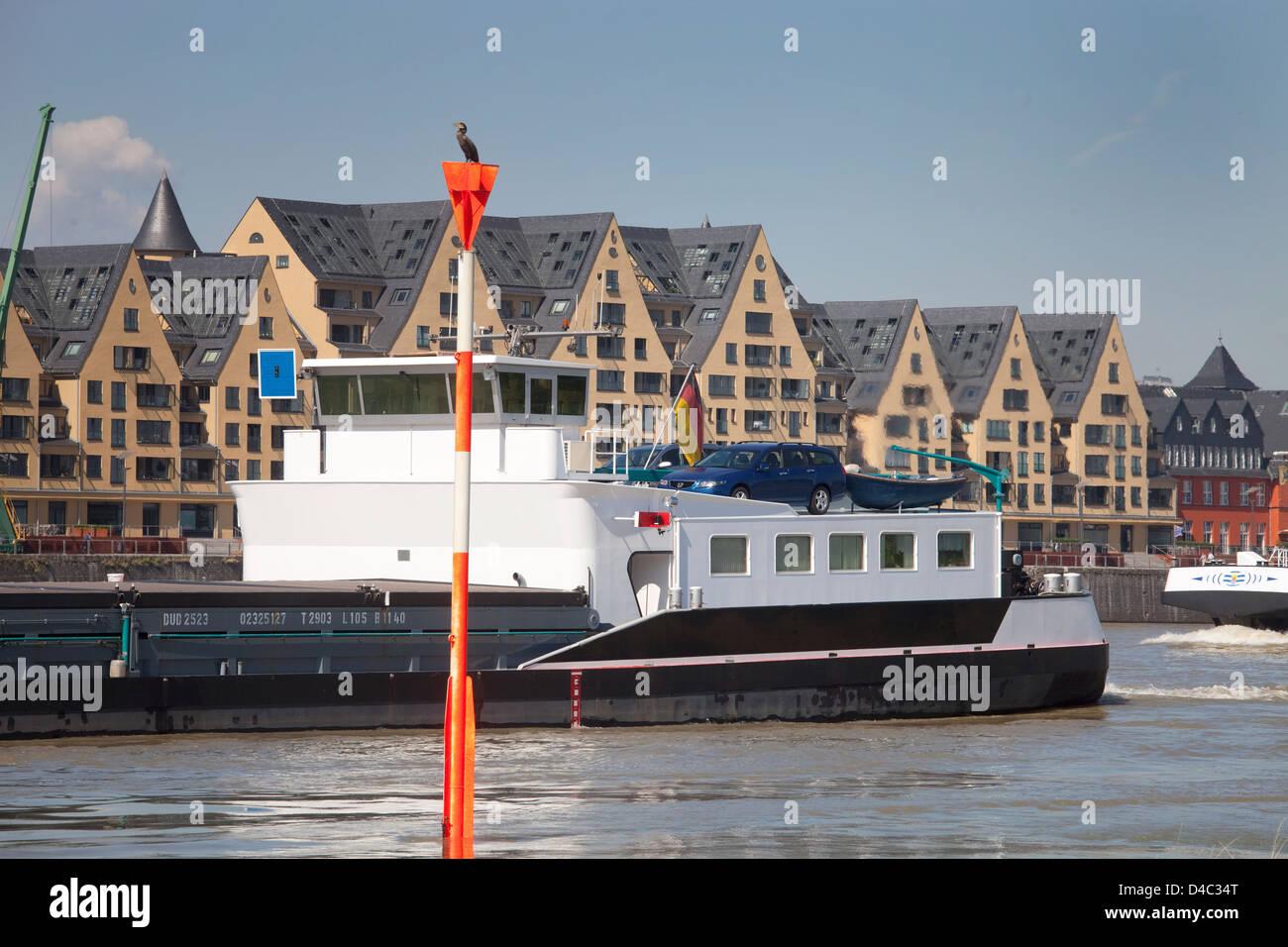 Koeln, Germany, view over the Rhine to the Rheinauhafen Stock Photo
