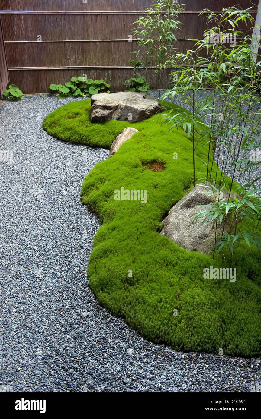 A Carefully Manicured Moss Island Highlights A Landscape Rock