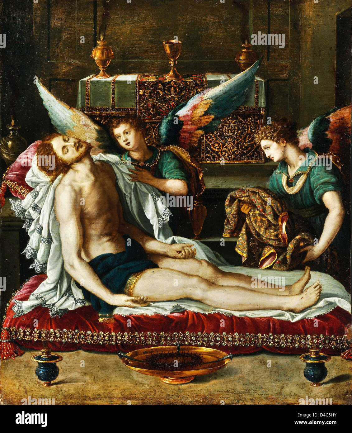 Alessandro Allori, The Body of Christ Anointed by Two Angels. Circa 1593 Oil on canvas. Museum of Fine Arts, Budapest - Stock Image