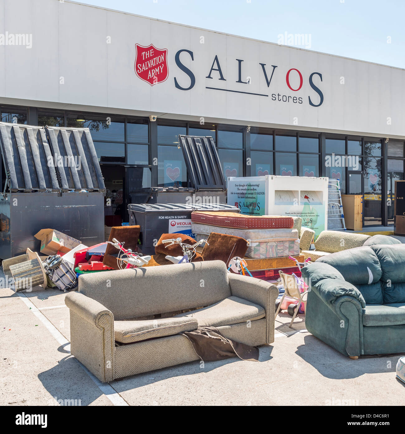 Second Hand Goods Left For Sale By Salvation Army Charity Shop In
