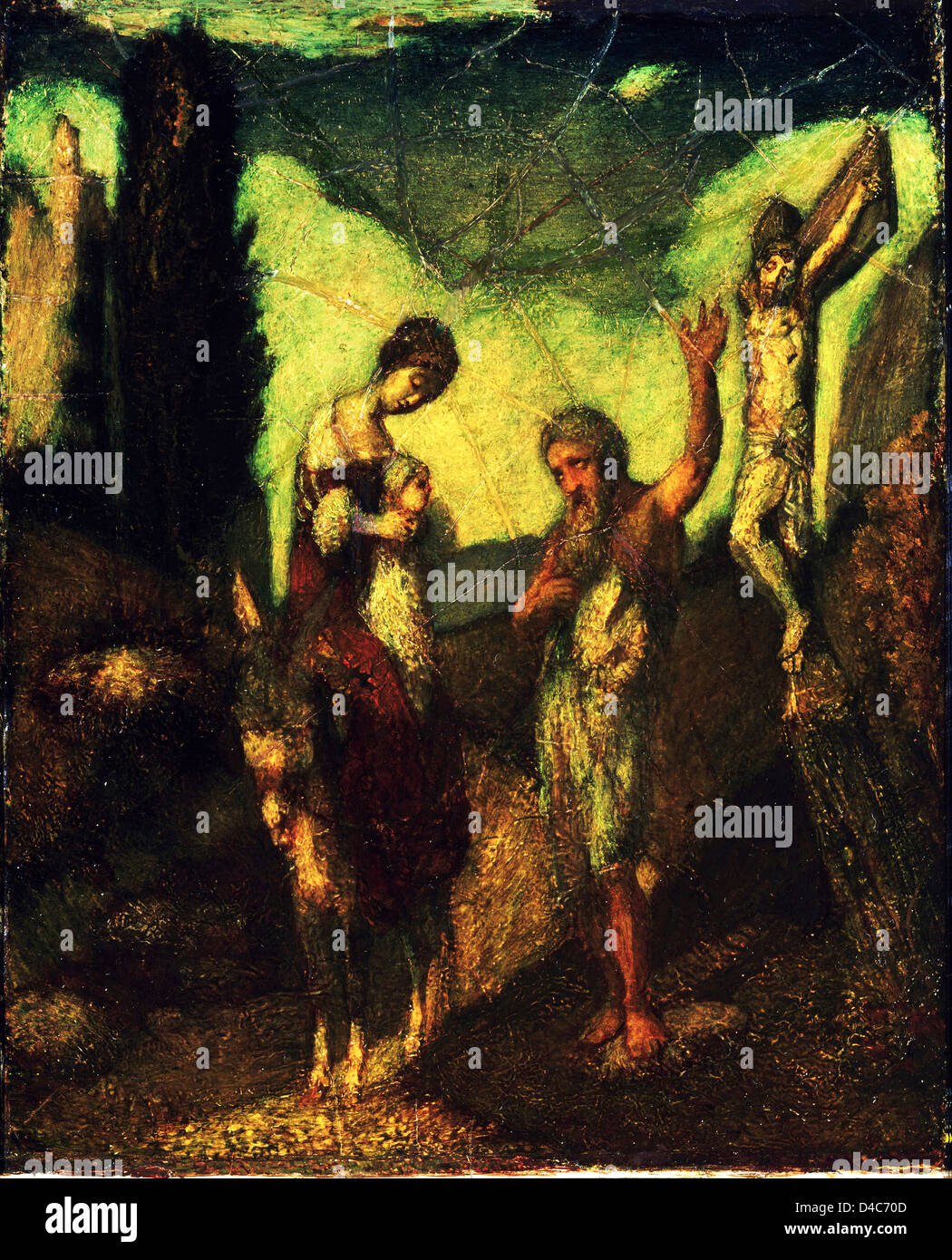 Albert Pinkham Ryder, The Story of the Cross. Circa 1890. Oil on canvas. Princeton University Art Museum, Princeton, - Stock Image