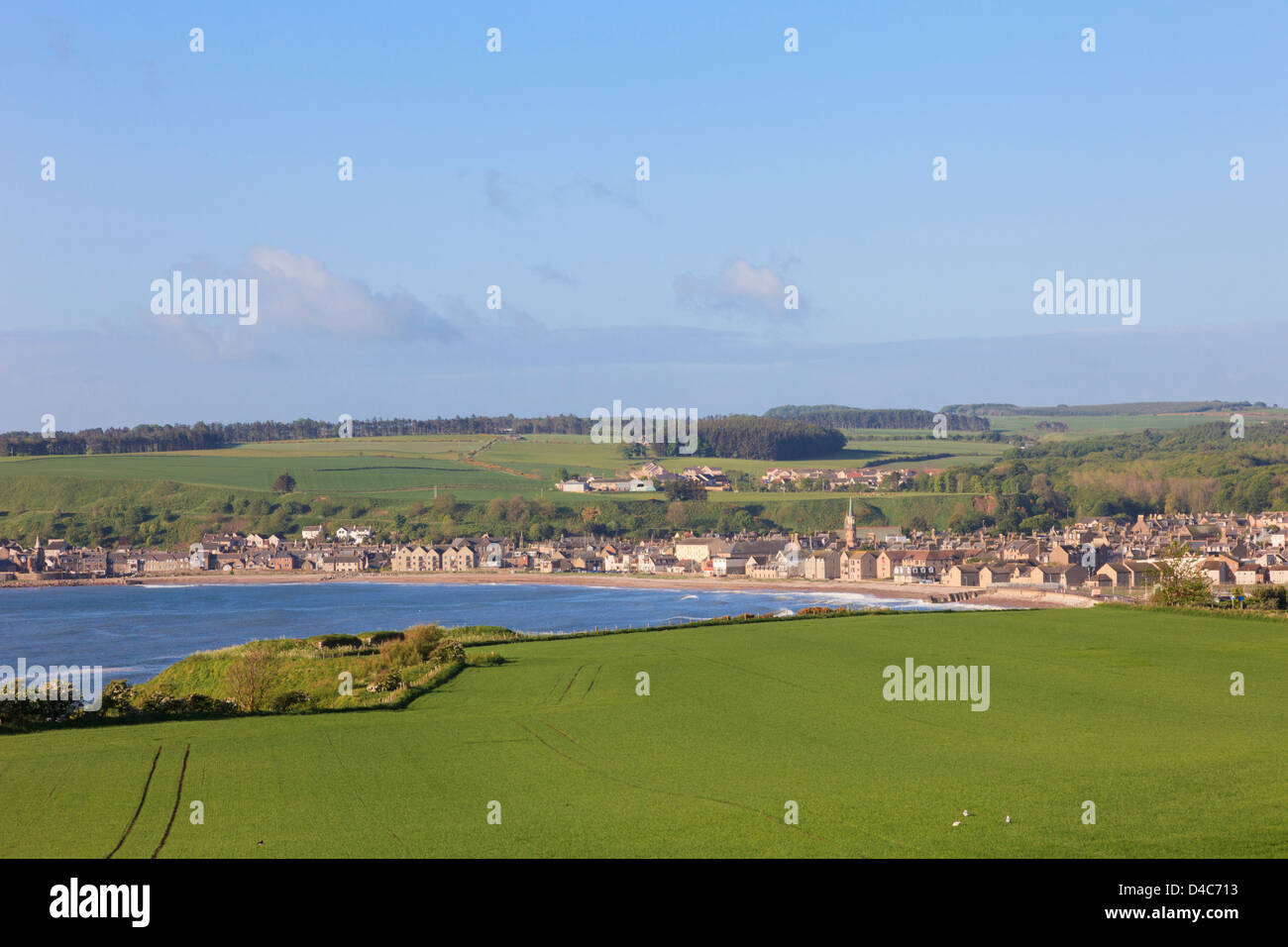 View across bay to old former county town of Kincardineshire on northeast Scottish coast. Stonehaven Aberdeenshire - Stock Image