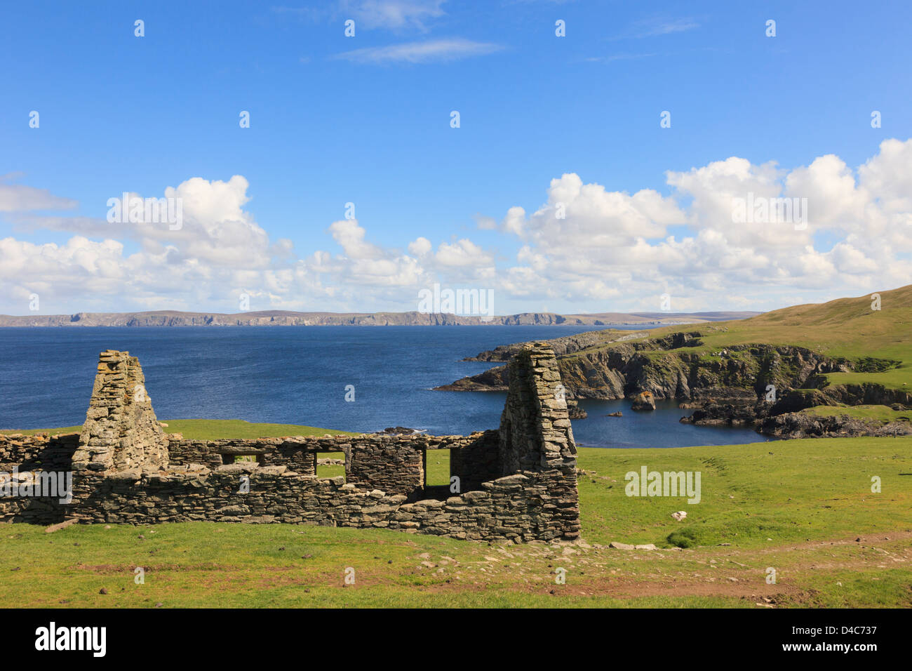 Remains of a derelict croft without a roof on remote coast near Fethaland, Northmavine, Mainland Shetland Islands, - Stock Image