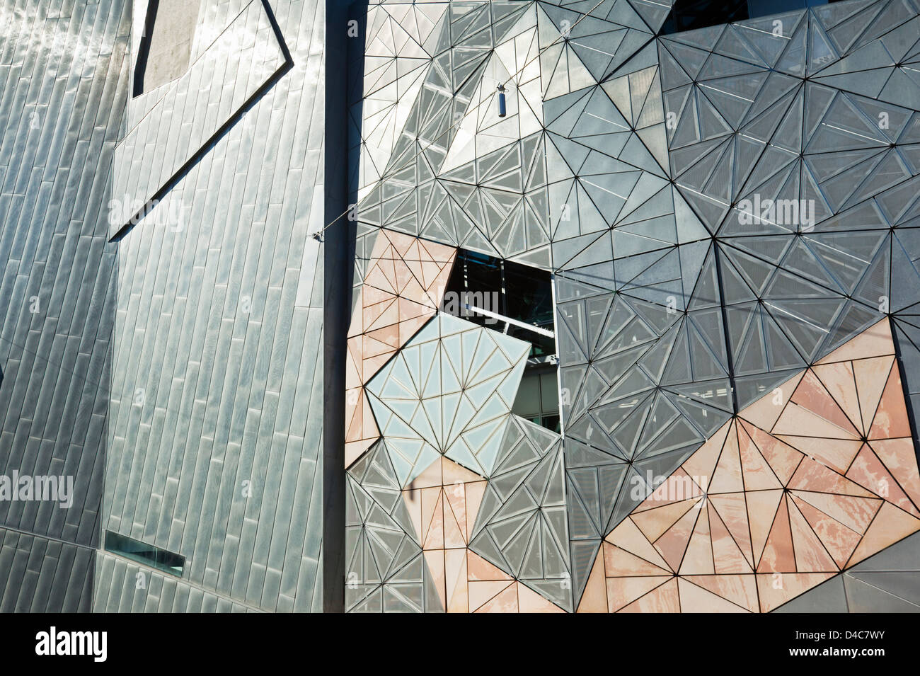 Iconic architecture of Federation Square. Melbourne, Victoria, Australia - Stock Image