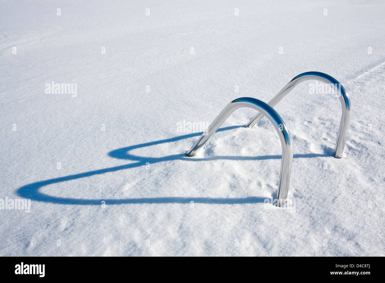 Swimming pool hand-rails at winter, Finland - Stock Image