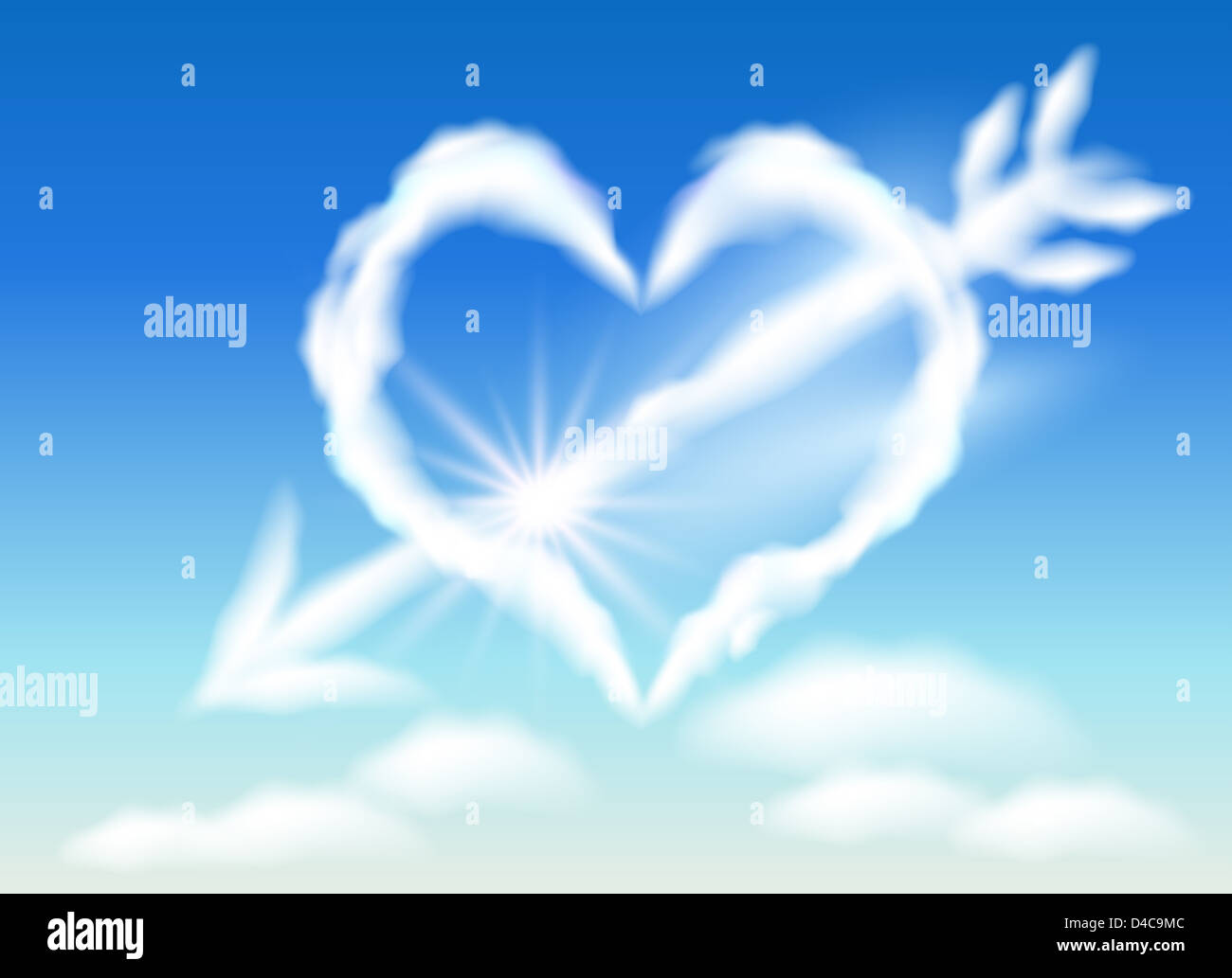 Cloud heart in the sky and arrow - Stock Image