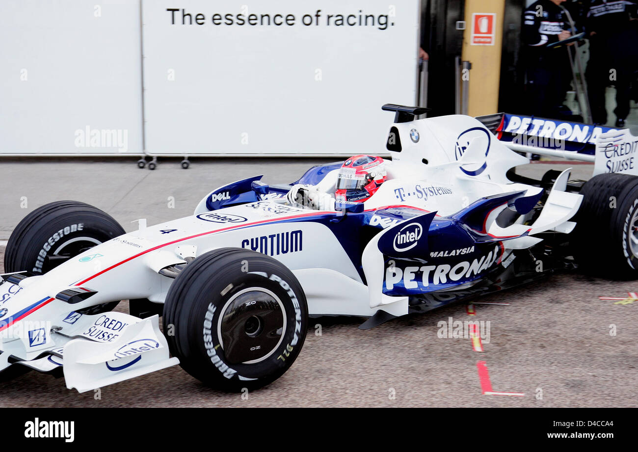 Polish Formula One driver Robert Kubica of BMW Sauber steers the new