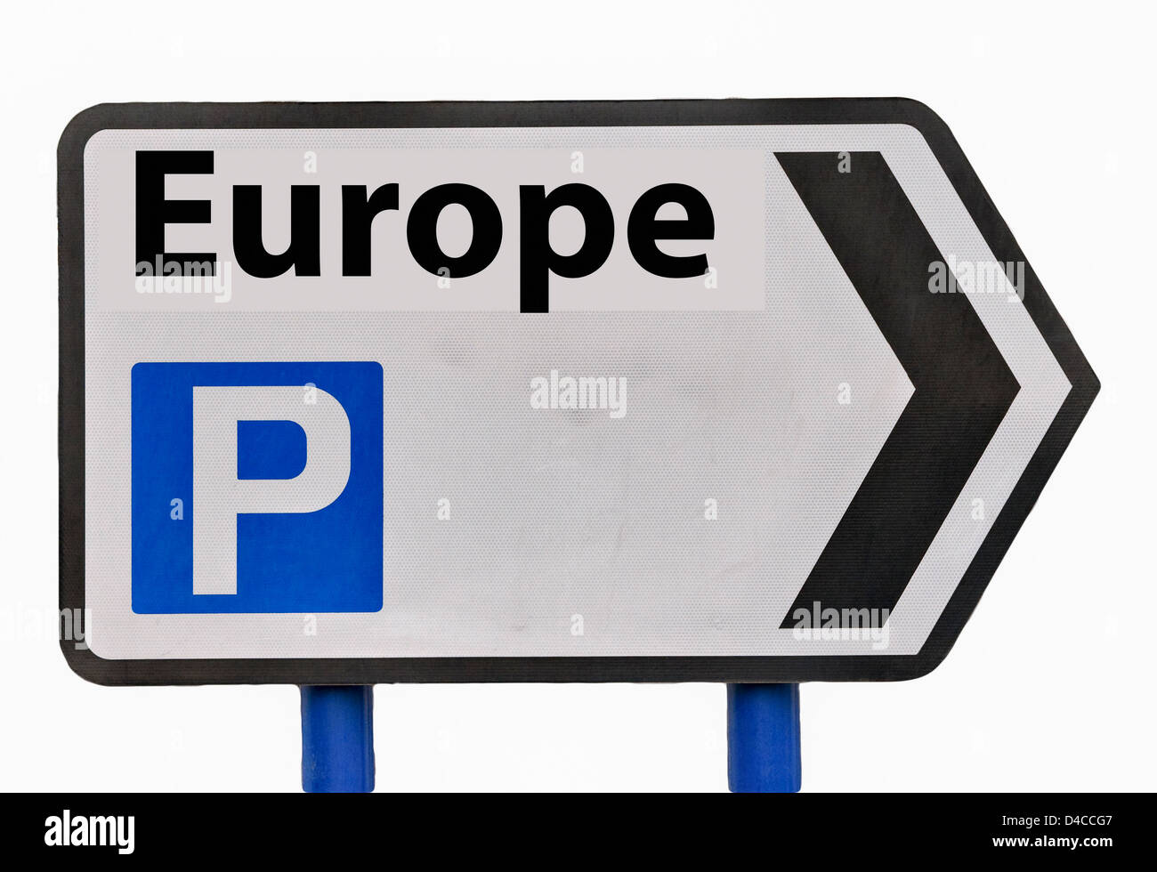 Europe Parking Road Sign England UK - Stock Image