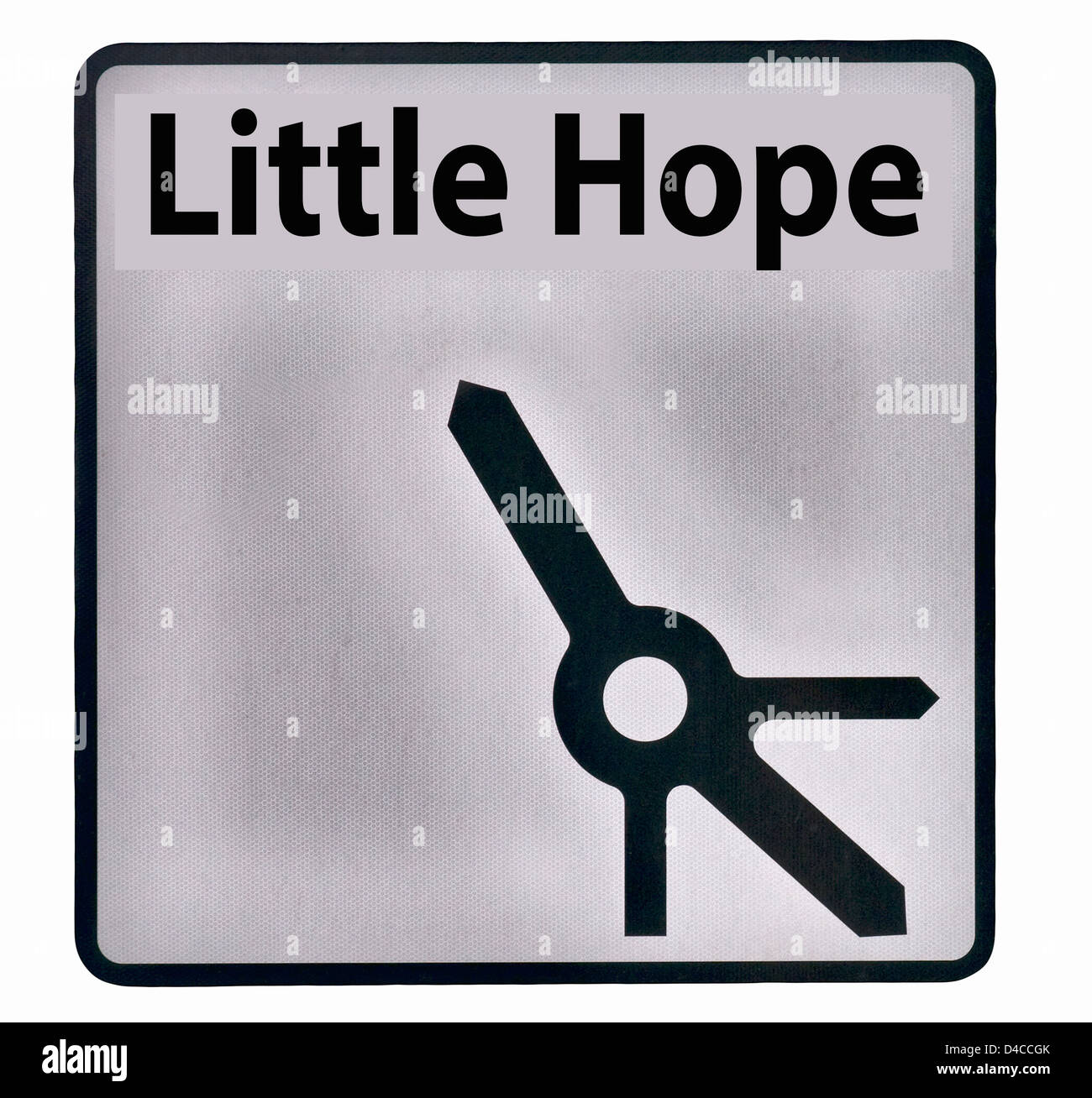Little Hope Road Sign England UK (includes roundabout detail) - Stock Image
