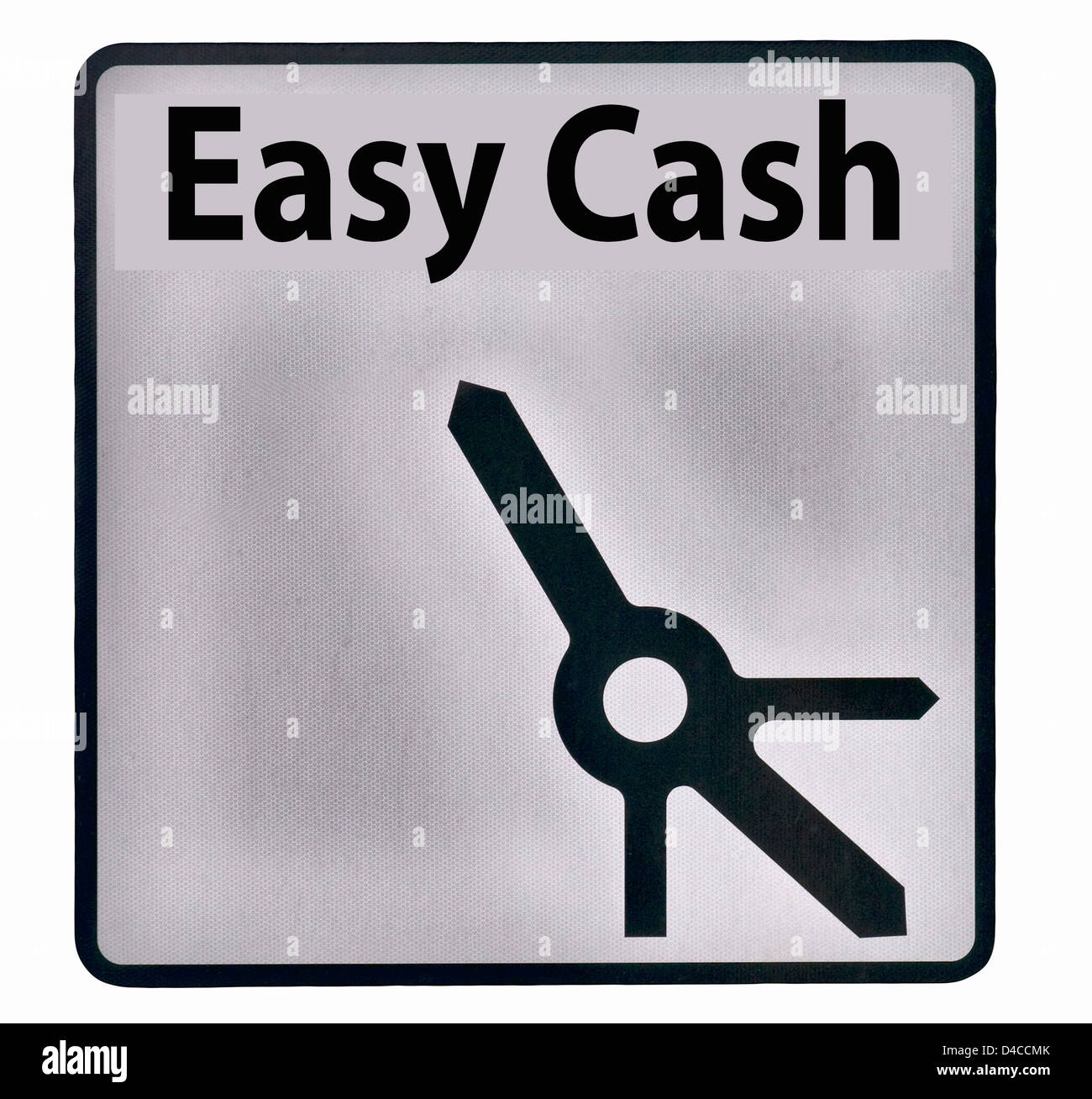 Easy Cash Road Sign England UK (includes roundabout detail) - Stock Image