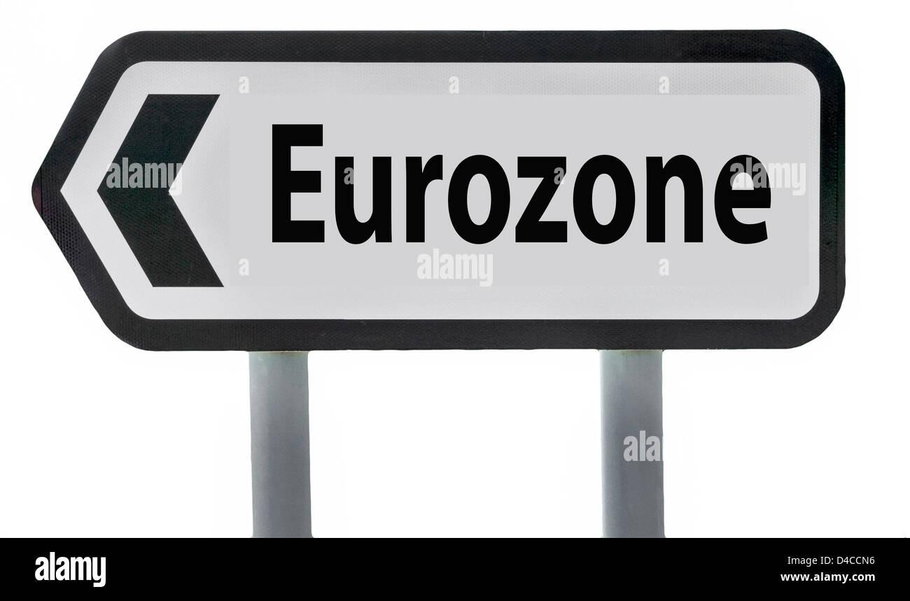 Eurozone Road Sign England UK - Stock Image