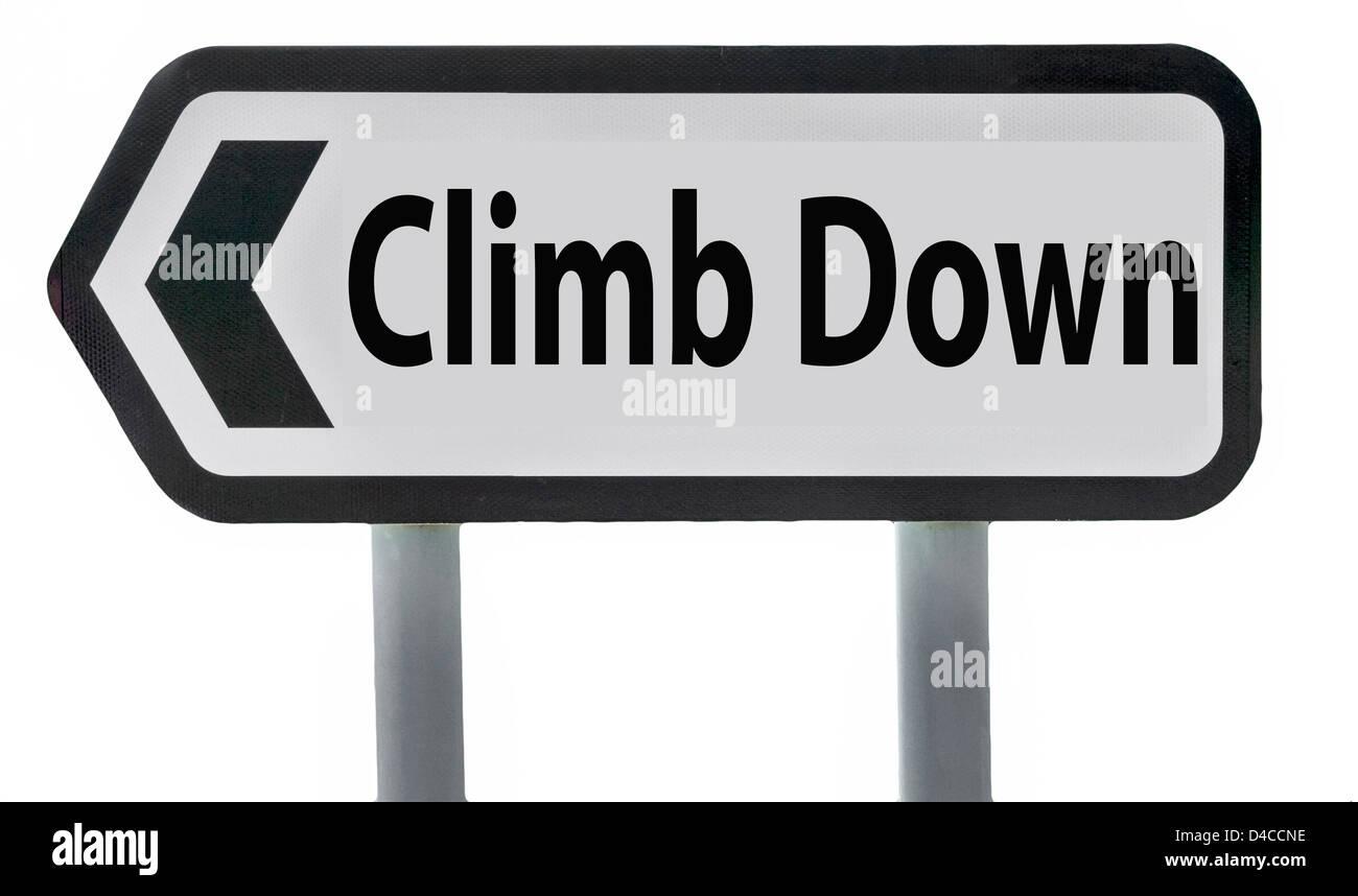 Climb Down Road Sign England UK - Stock Image