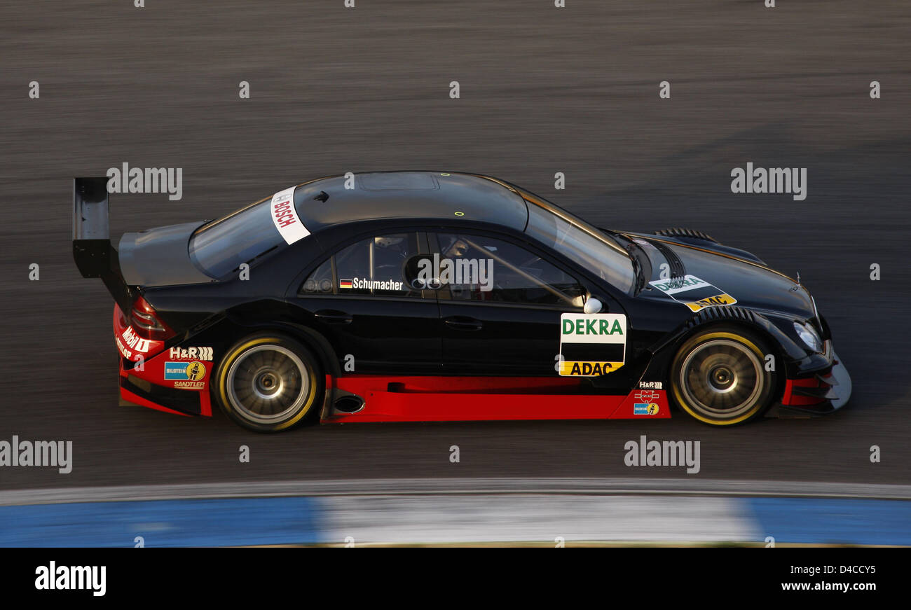 Ralf Schumacher races a DTM-Mercedes around the race track in Estoril, Portugal, 16 January 2008. Schumacher completed - Stock Image