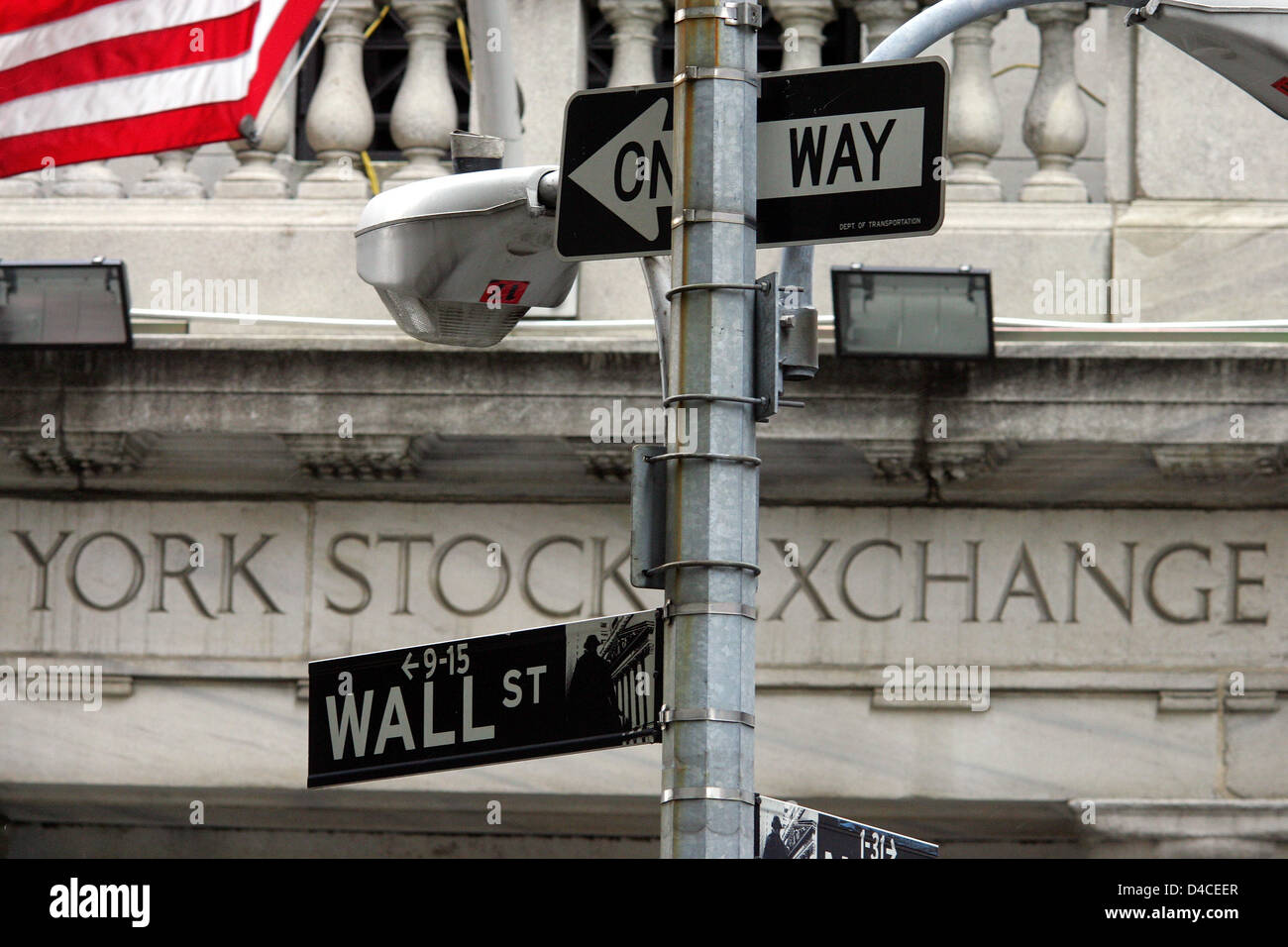 The picture shows the New York Stock Exchange at the Wall Street in Newy York, USA, 22 January 2008. Despite a lowering - Stock Image