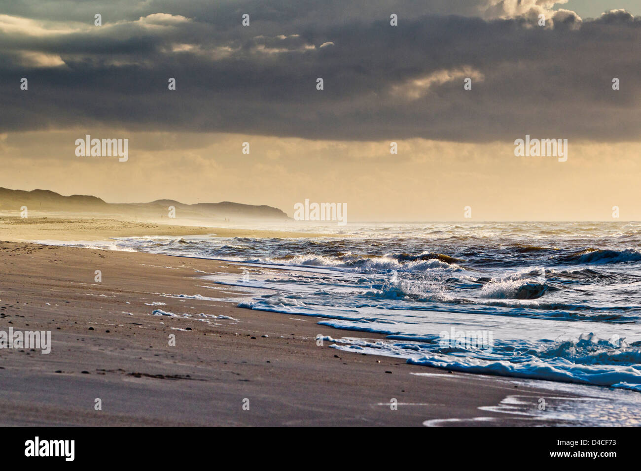 Waves in north sea, List, Sylt, Schleswig-Holstein, Germany, Europe - Stock Image