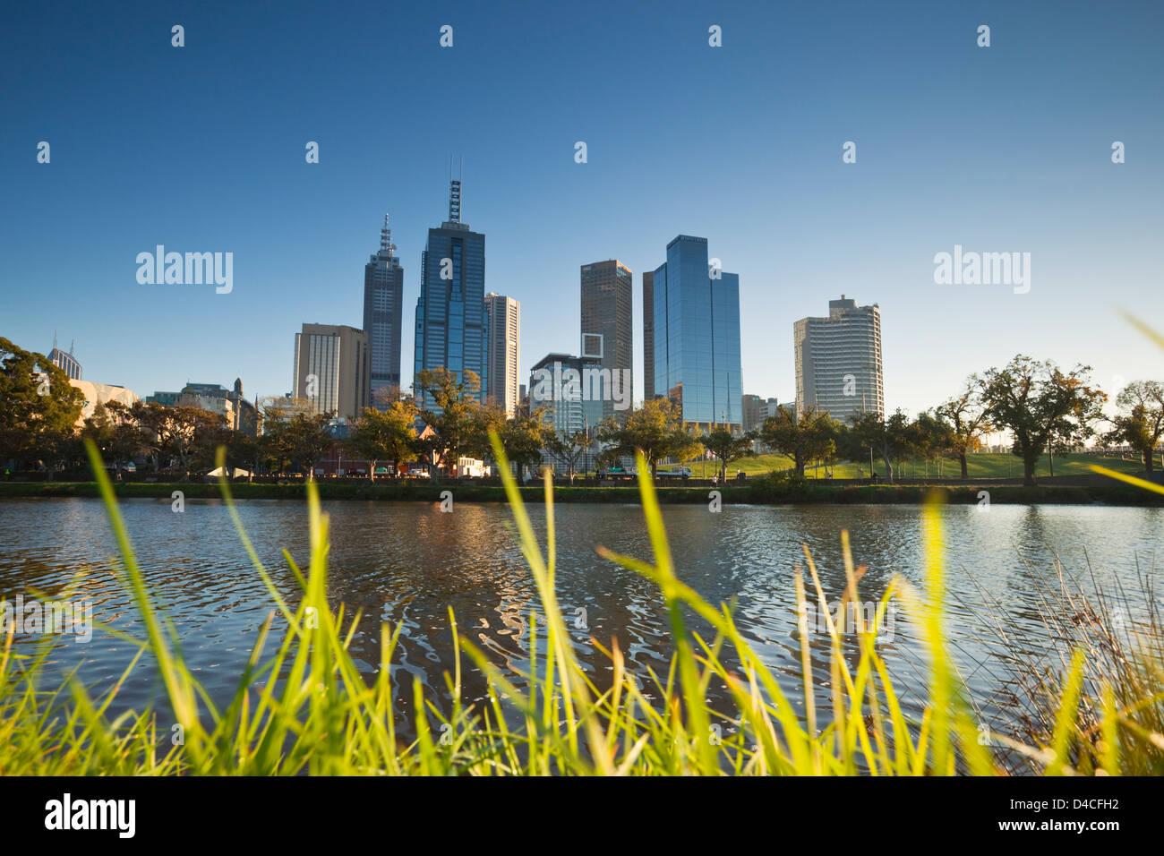 View across Yarra River to city skyline at dawn. Melbourne, Victoria, Australia Stock Photo