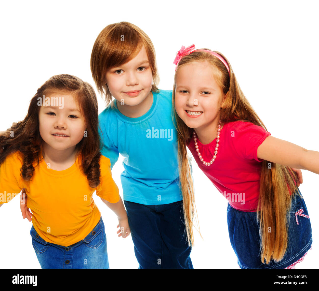 Group Of Three Kids Two Girls And Boy Together Asian And