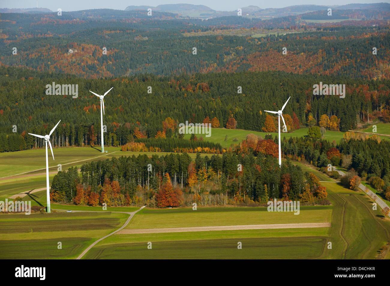 Three wind turbines, Renquishausen, Baden-Wuerttemberg, Germany, Europe - Stock Image