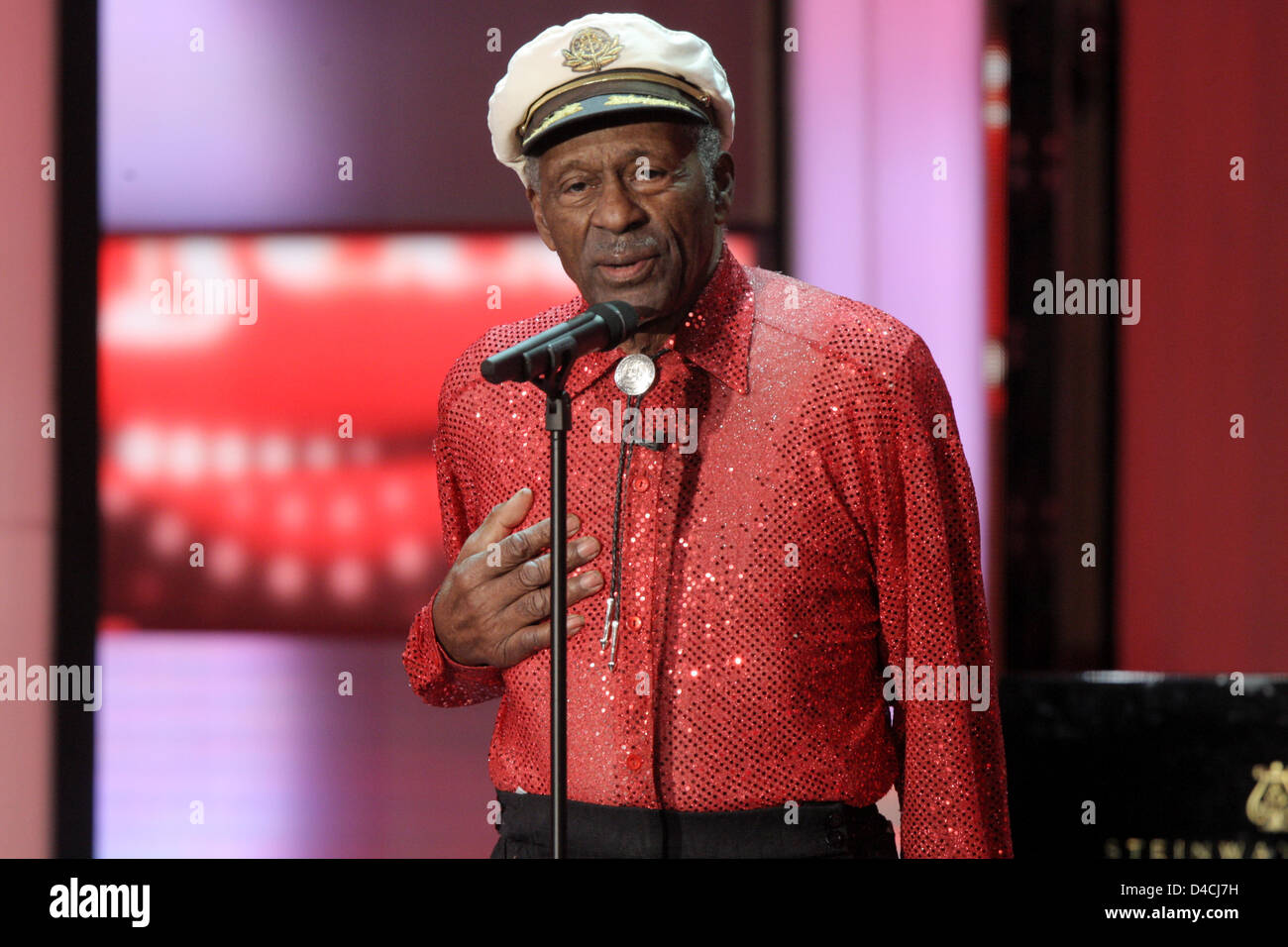 US music legend Chuck Berry on stage at the 43rd 'Goldene Kamera' Awards in Berlin, Germany, 06 February - Stock Image