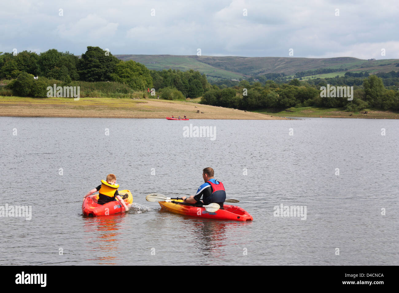 Boating in a lake in Peak District, UK Stock Photo