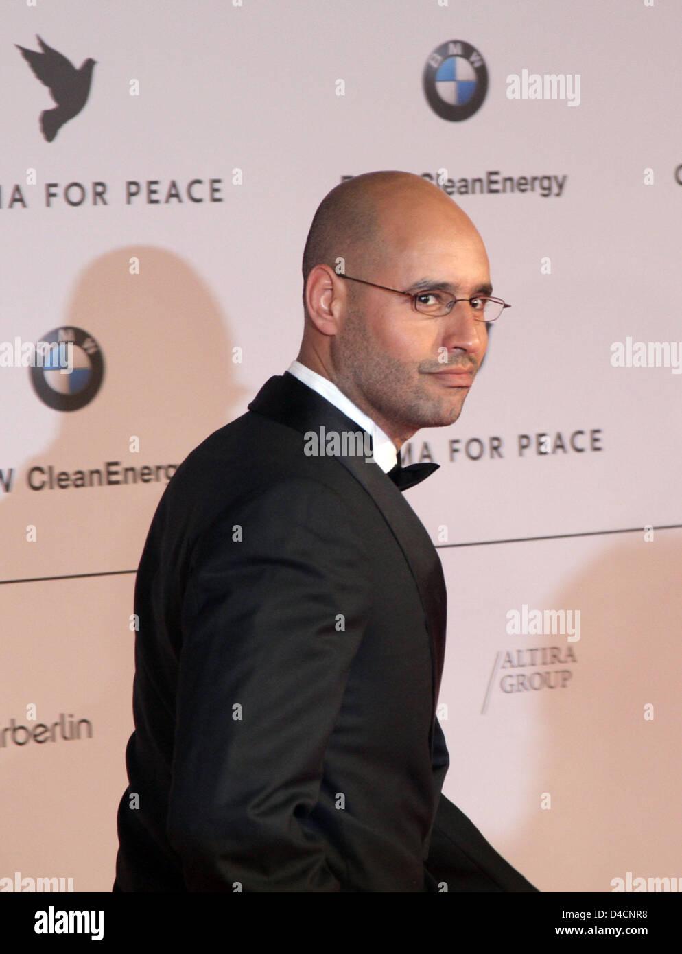 Saif al-Islam Gaddafi, son of Libya's head of state Muammar el Gadafi, arrives at the charity gala 'Cinema - Stock Image