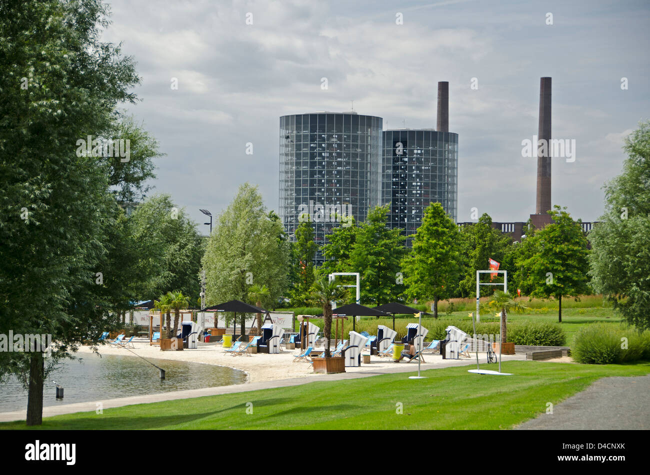 Car towers and park area with beach, Lower Saxony, Germany - Stock Image