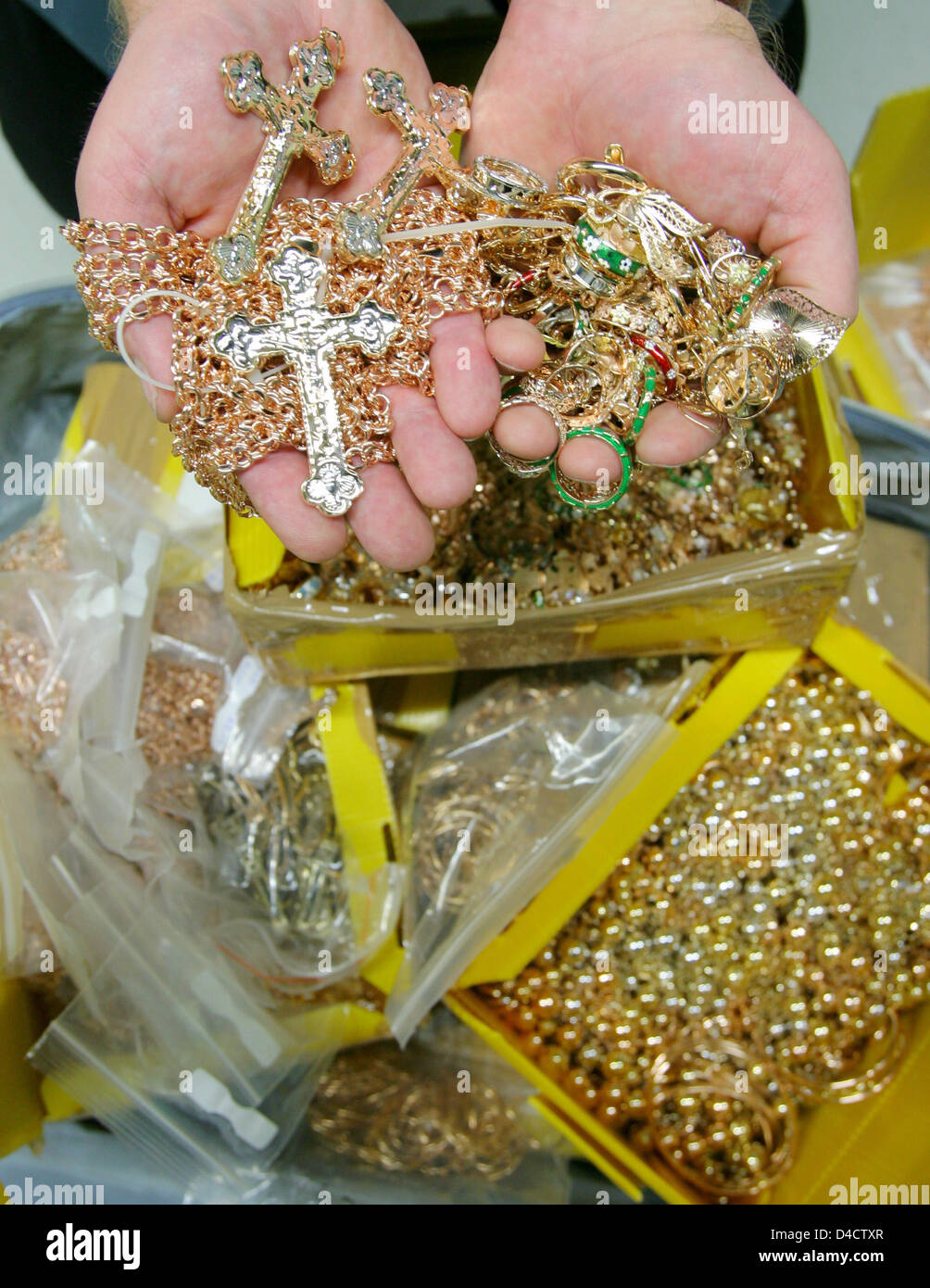 German Customs Officers Present A Seized Gold Jewellery At The Airport Of Frankfur Main Germany 21 February 2008 More Than 63 Kilograms