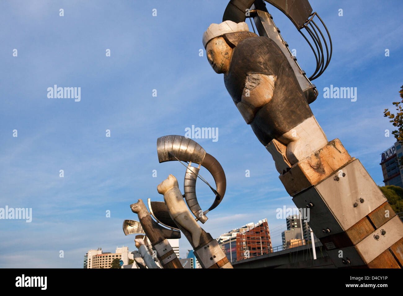 The artwork 'Constellation' by Bruce Armstrong and Geoffrey Bartlett on the Yarra River waterfront. Melbourne, - Stock Image
