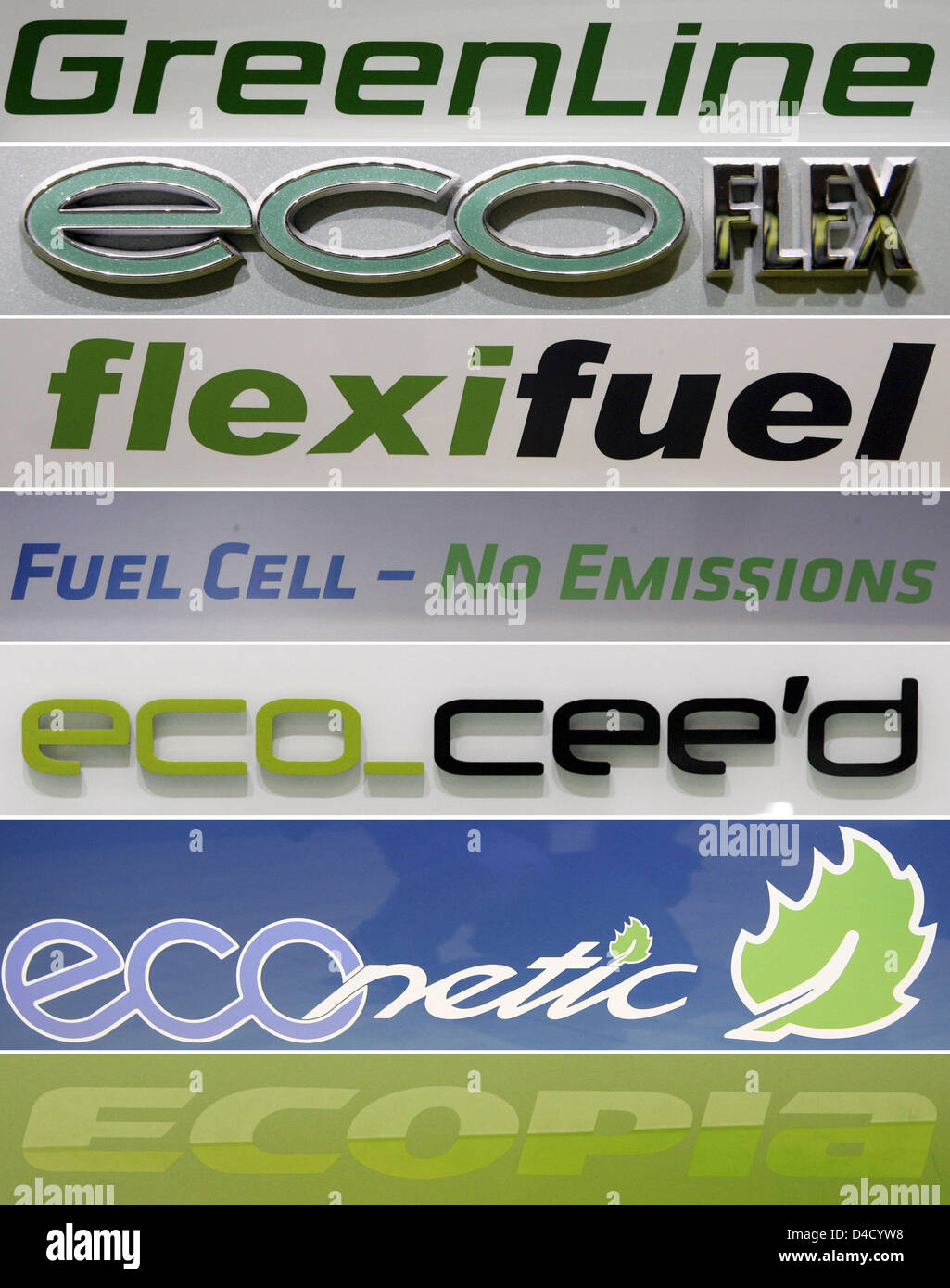 The composite picture shows logotypes of different  manufacturers representing ecologically friendly concepts at Stock Photo