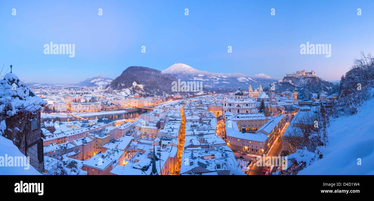 Old town of Salzburg at Advent season, Austria - Stock Image