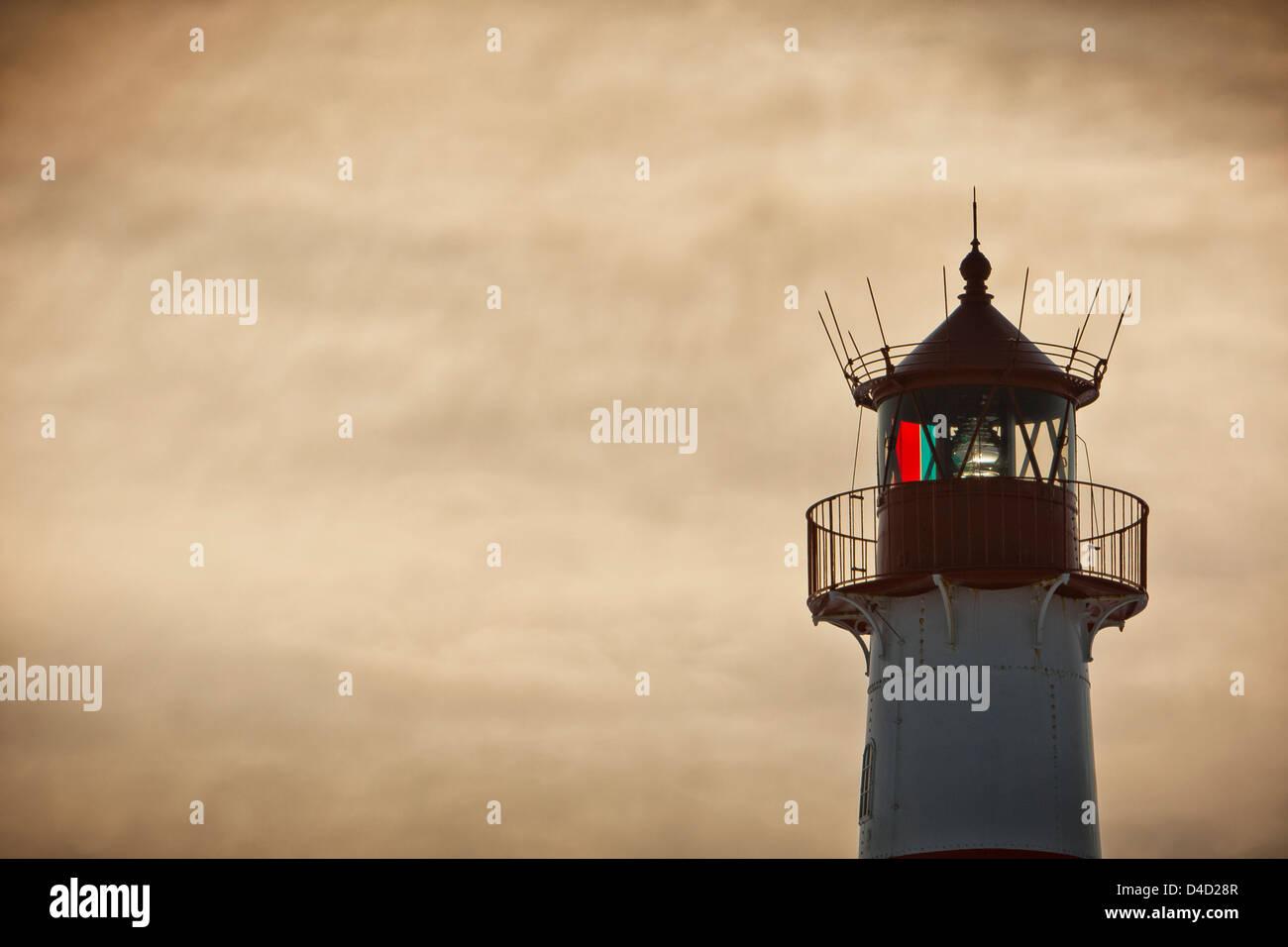 Lighthouse List-Ost on the Ellenbogen, Sylt, Germany, close-up - Stock Image