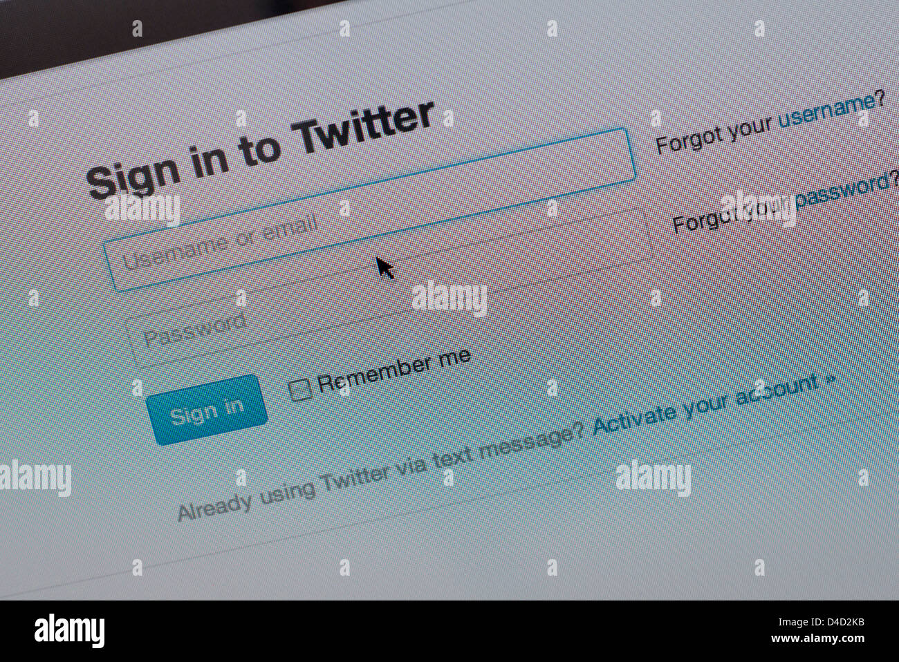 twitter web page, sign in - Stock Image
